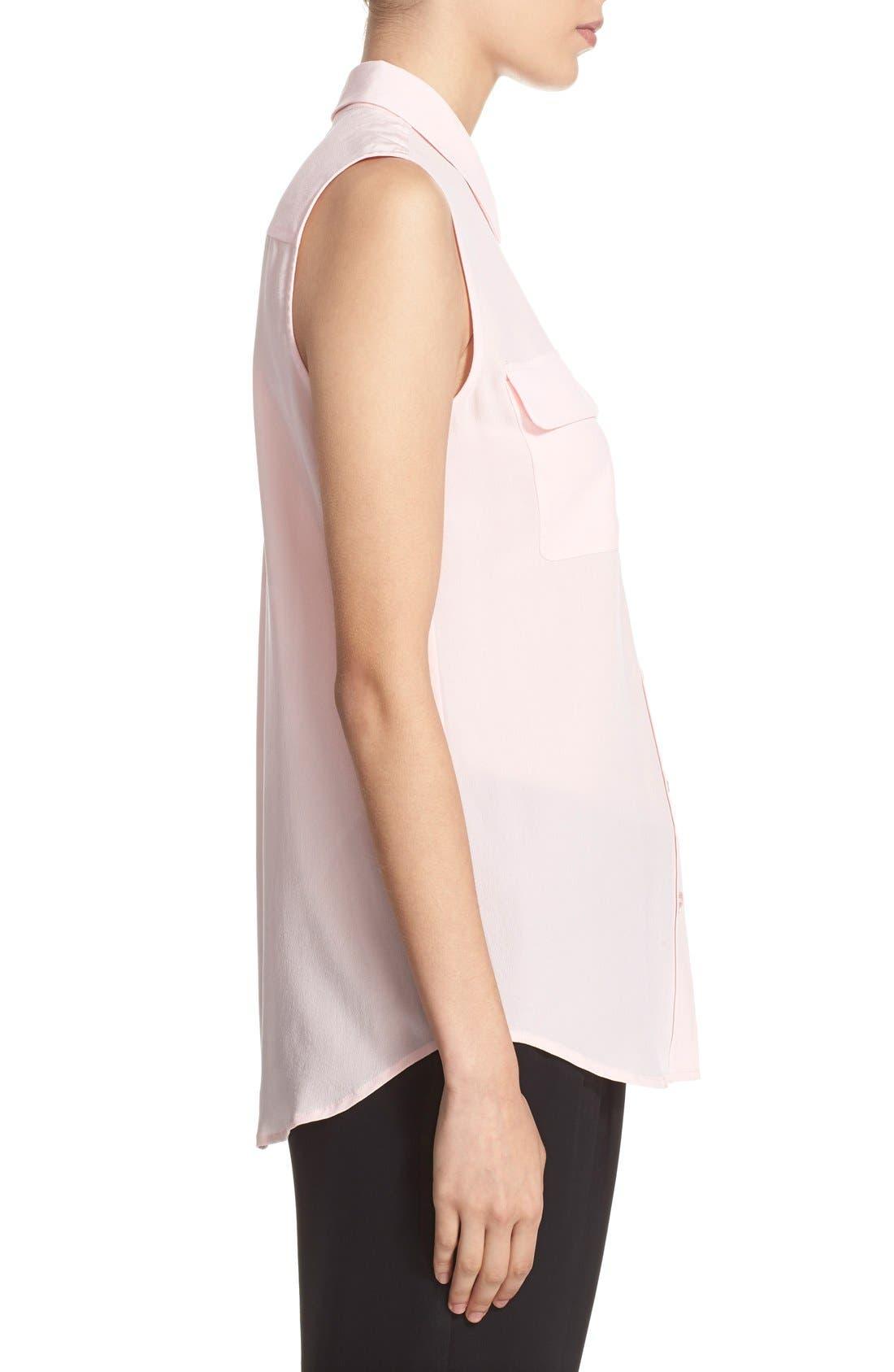 'Slim Signature' Sleeveless Silk Shirt,                             Alternate thumbnail 180, color,