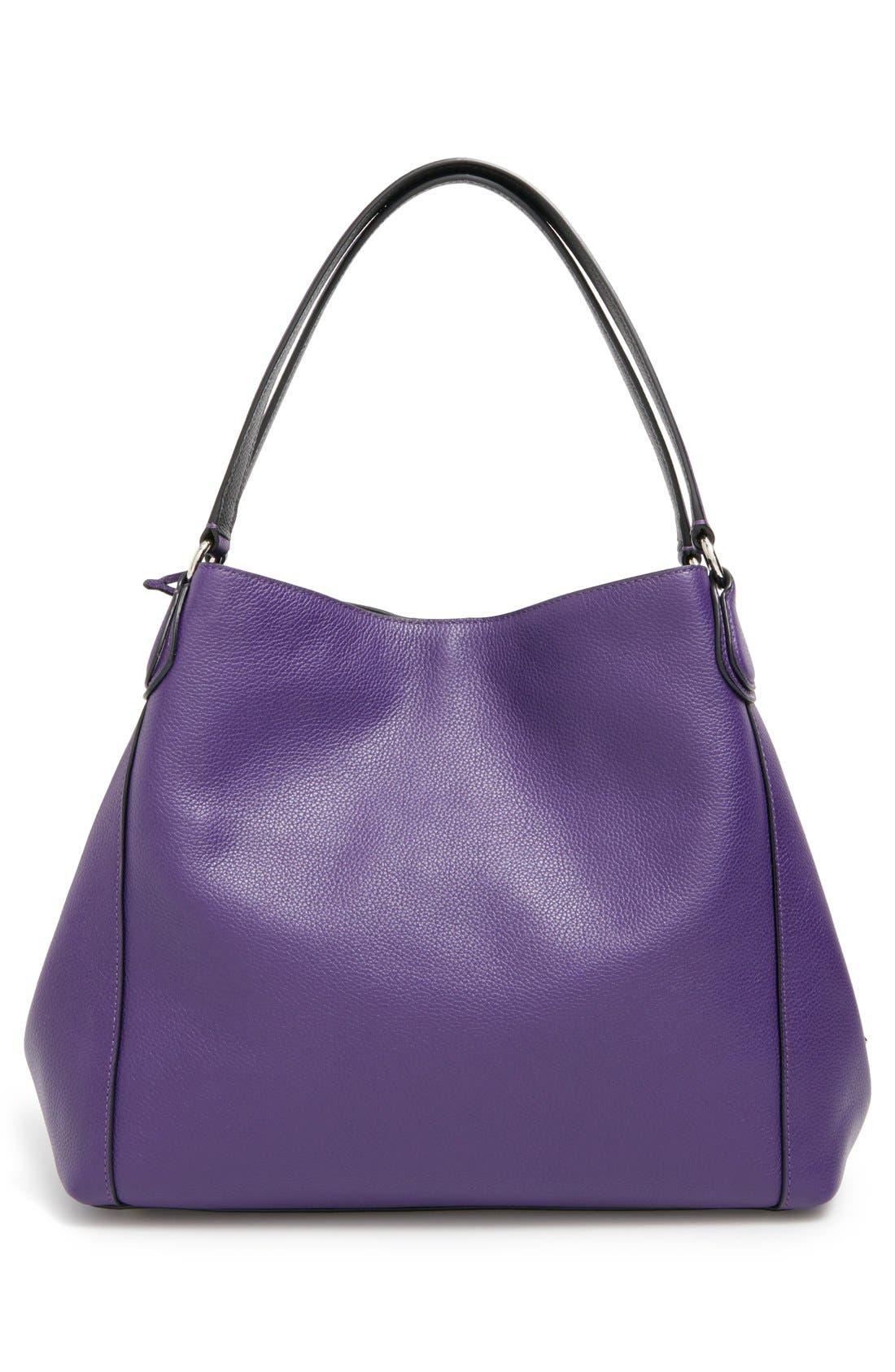 COACH,                             'Edie 31' Pebbled Leather Shoulder Bag,                             Alternate thumbnail 6, color,                             500