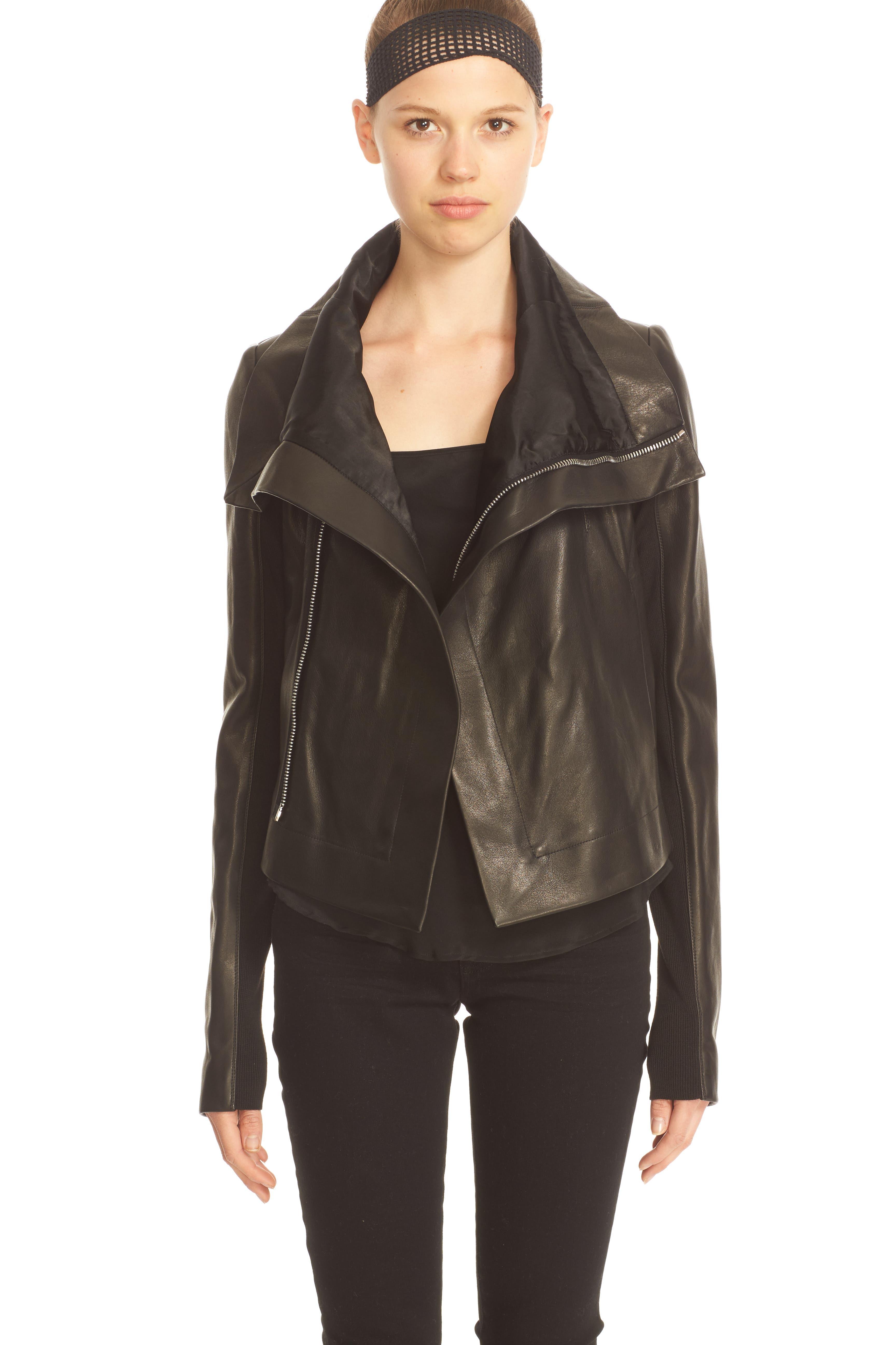 RICK OWENS,                             'Clean' Leather Biker Jacket,                             Alternate thumbnail 2, color,                             001