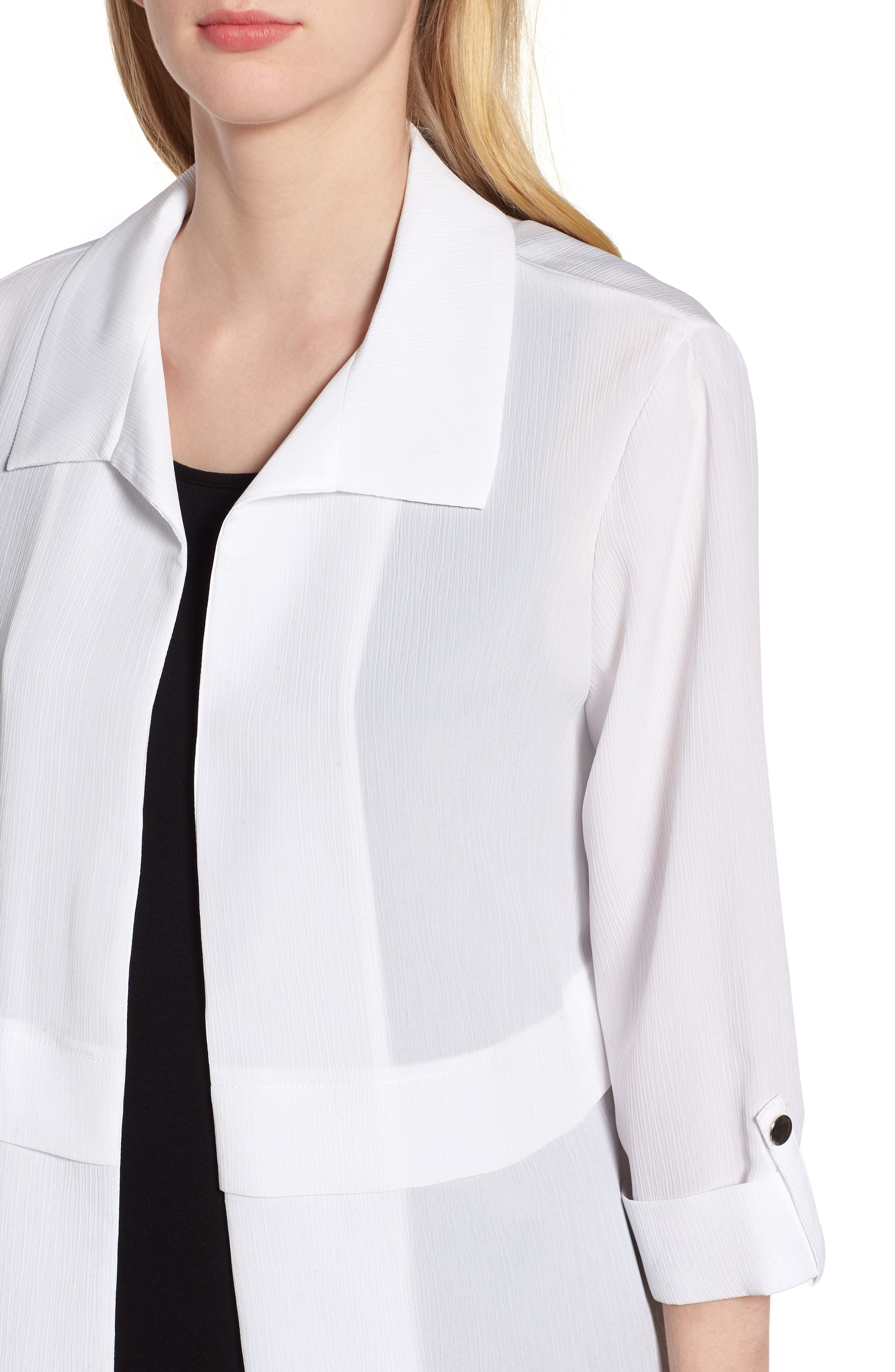 Gauzy Roll-Tab Sleeve Jacket,                             Alternate thumbnail 4, color,                             WHITE