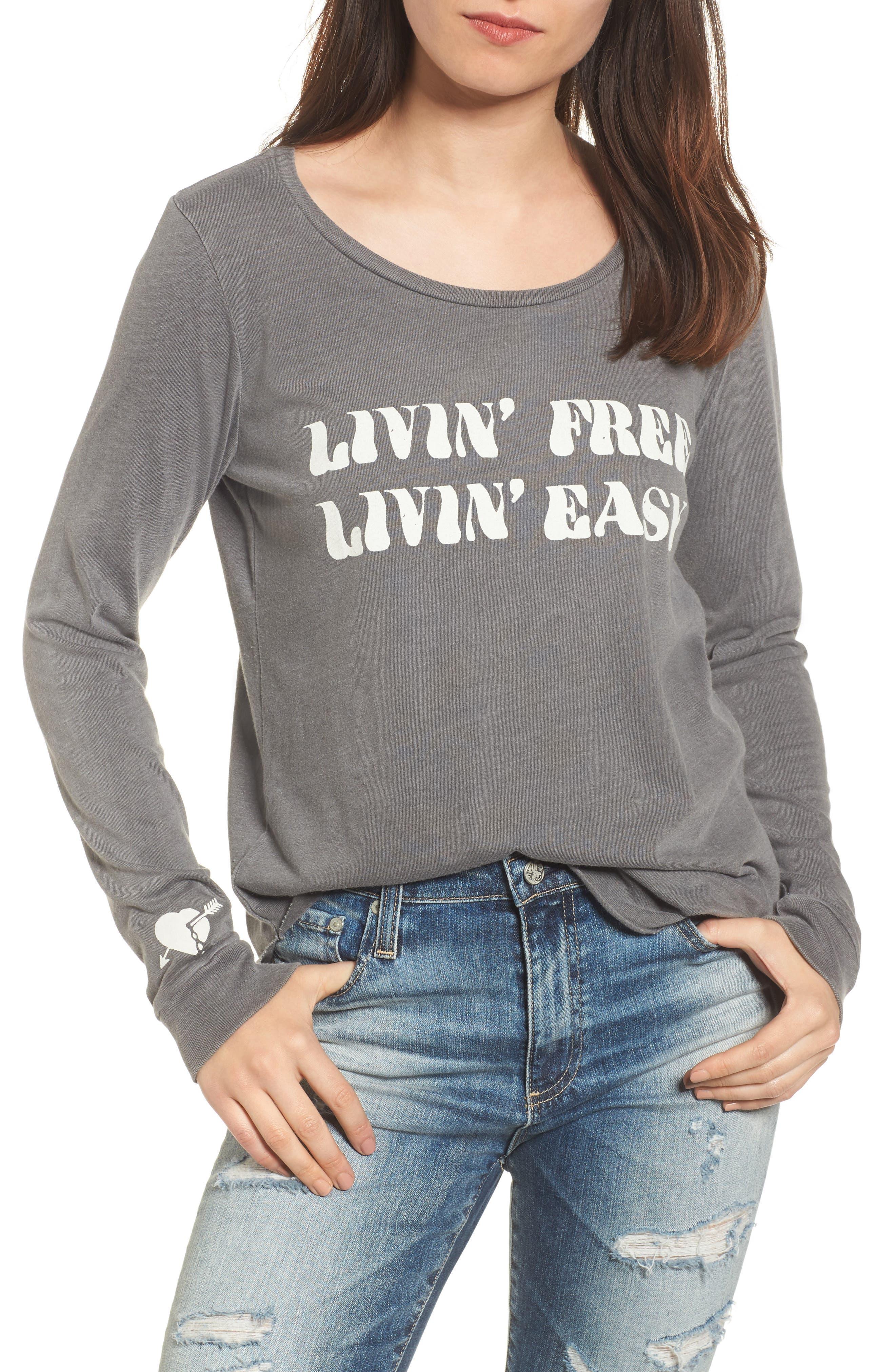 Livin' Free Livin' Easy Top,                             Main thumbnail 1, color,                             088