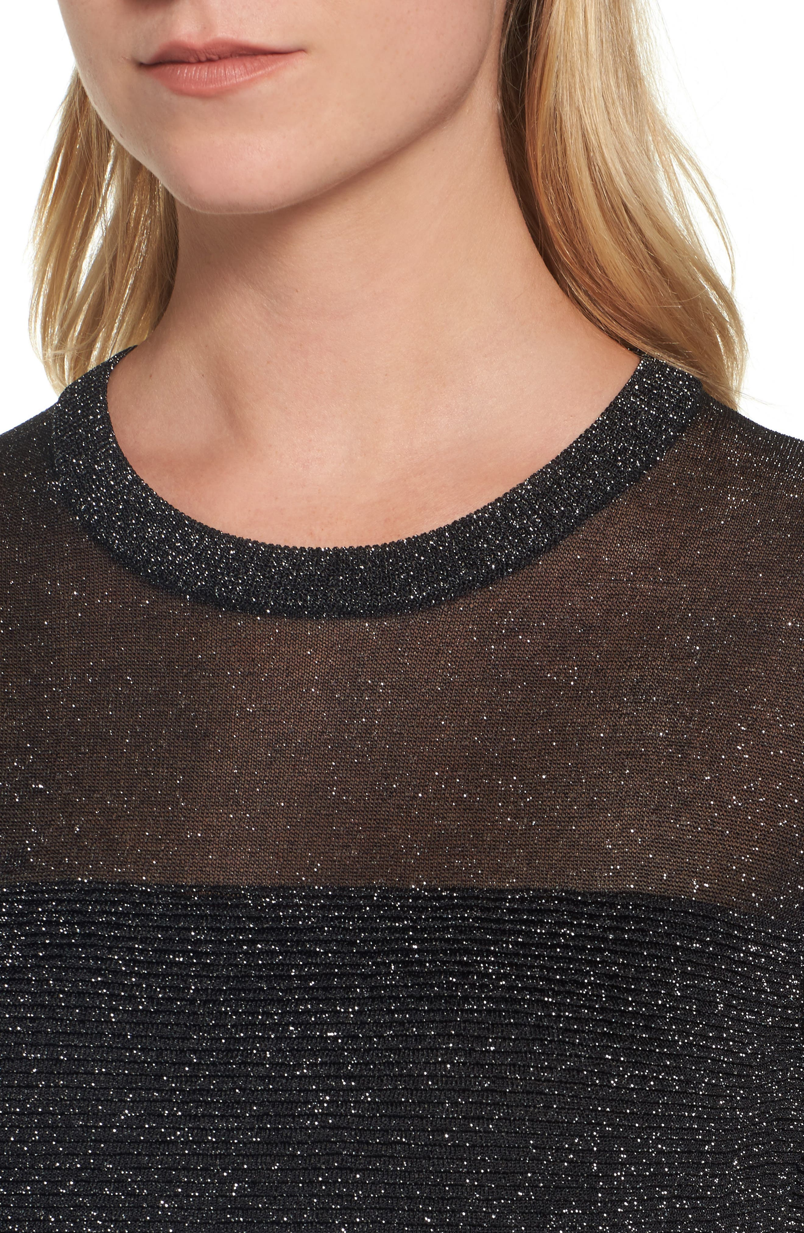 Sheer Metallic Overlay Sweater,                             Alternate thumbnail 4, color,                             001