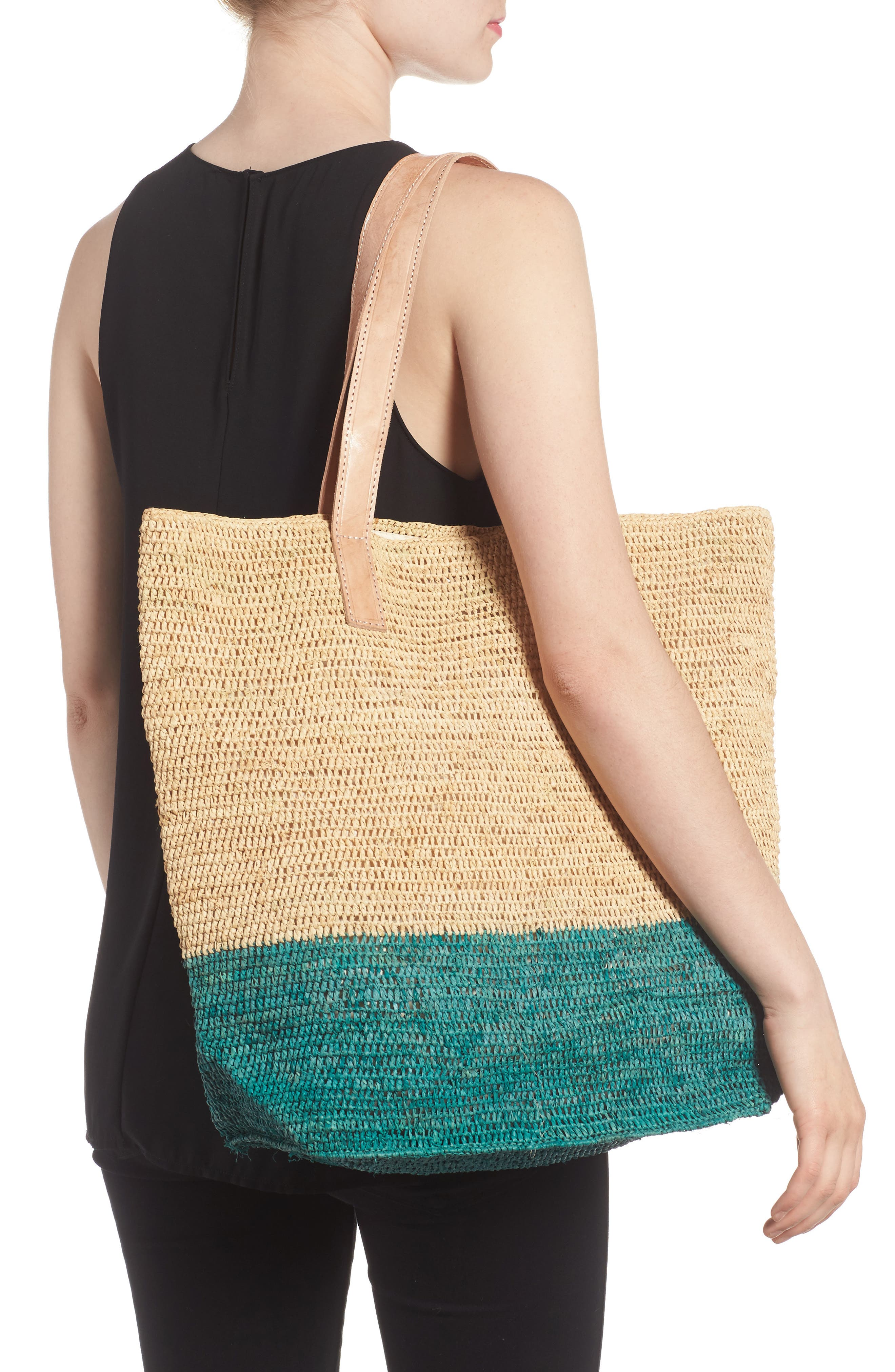 Montauk Woven Tote with Pom Charms,                             Alternate thumbnail 2, color,                             401