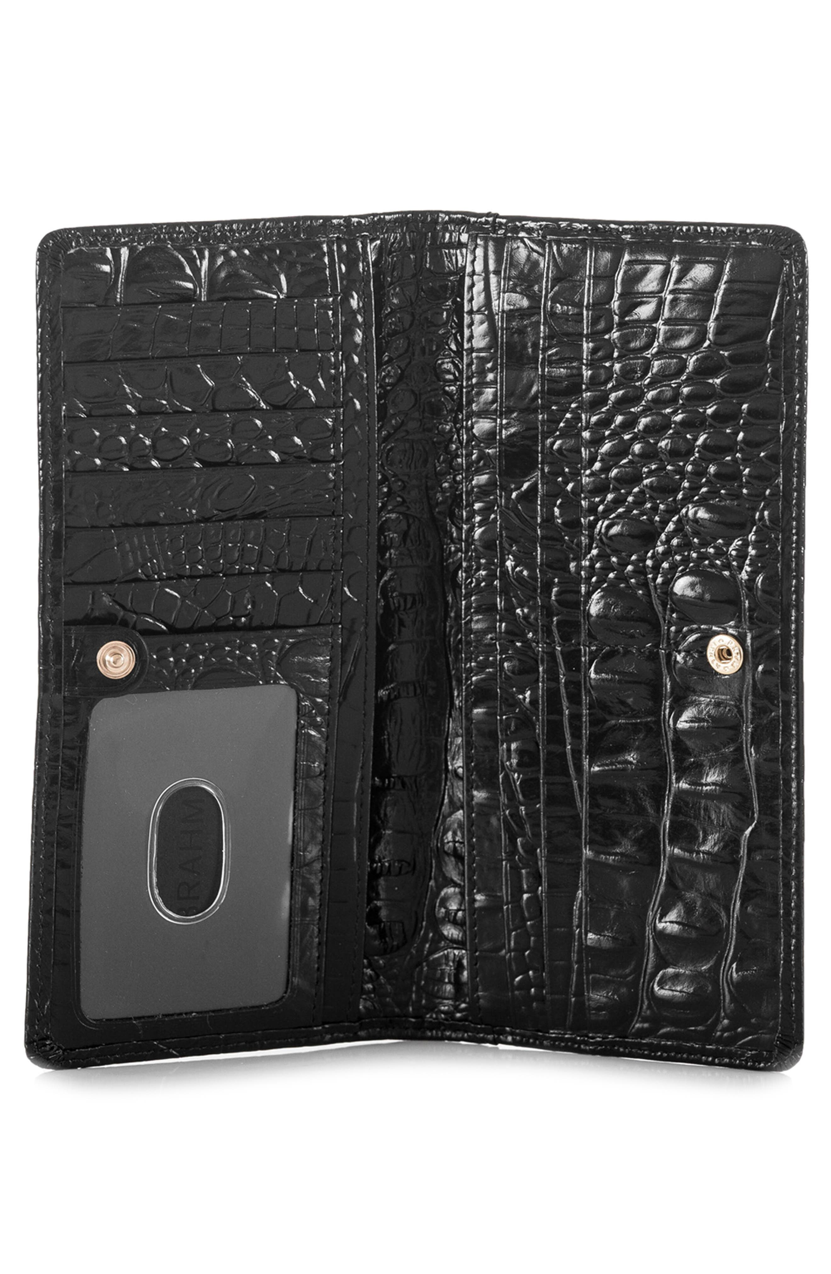 'Ady' Croc Embossed Continental Wallet,                             Alternate thumbnail 2, color,                             BLACK