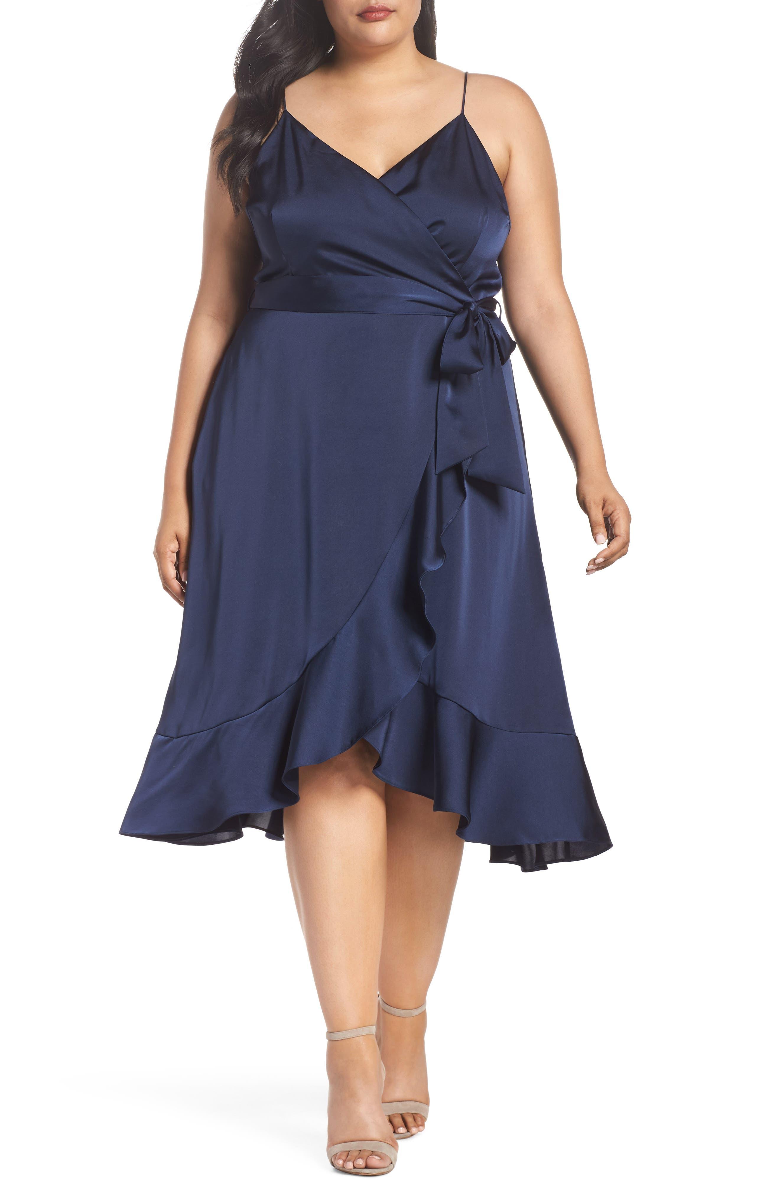 Marilyn Satin Faux Wrap Dress,                             Main thumbnail 1, color,                             400