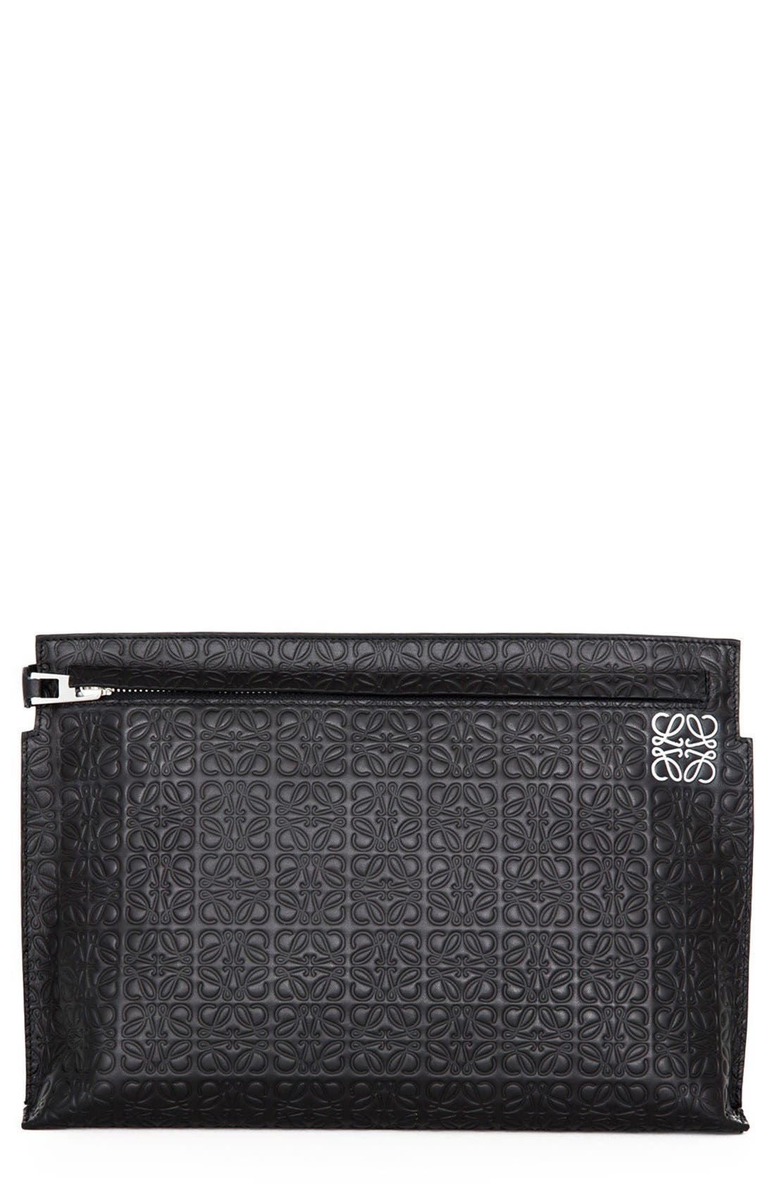 LOEWE Large Logo Embossed Calfskin Leather Pouch, Main, color, 001