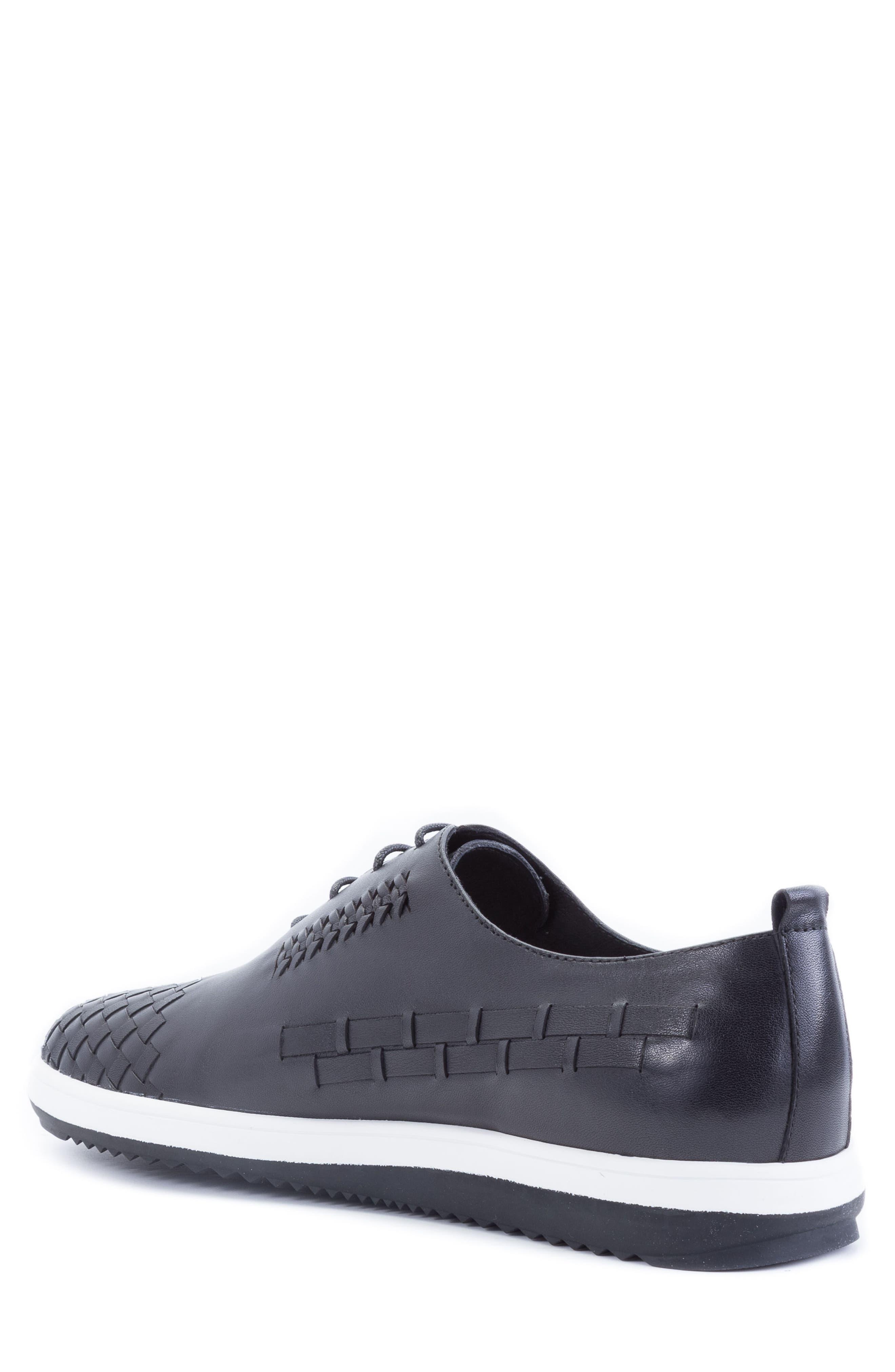 Digital Woven Cap Toe Sneaker,                             Alternate thumbnail 2, color,                             BLACK LEATHER