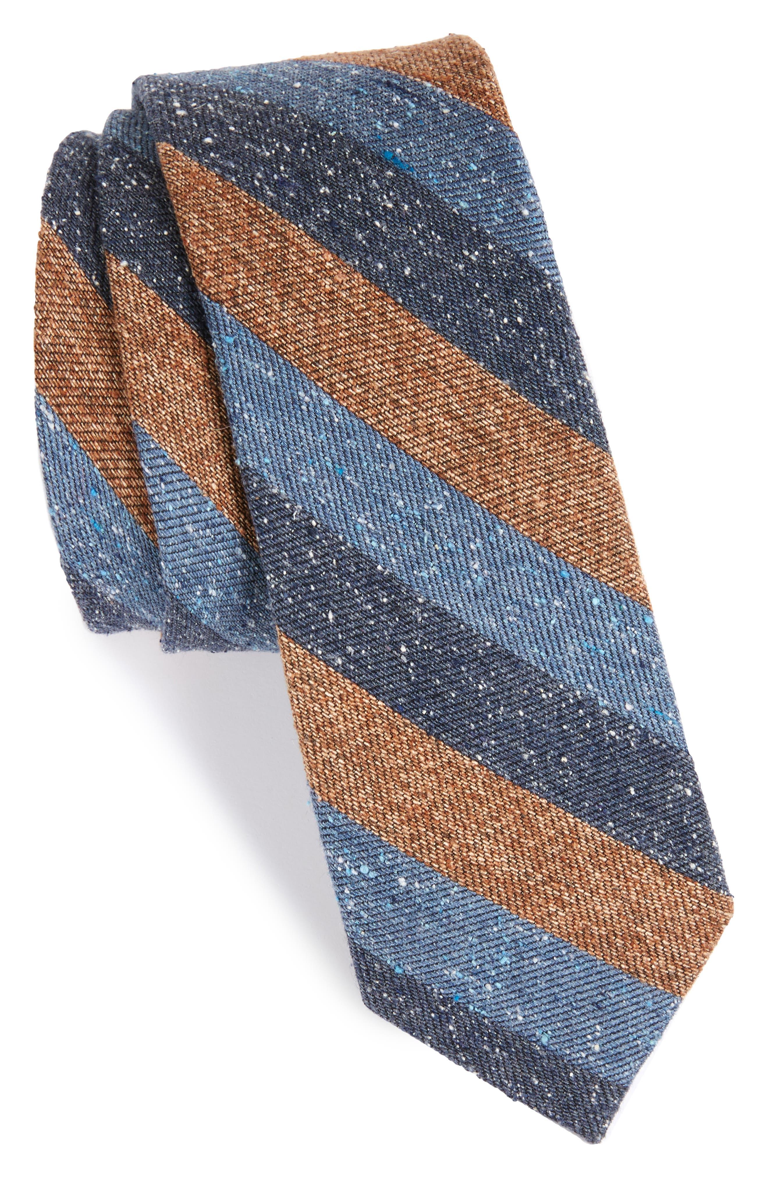 Varios Stripe Silk Skinny Tie,                             Main thumbnail 1, color,