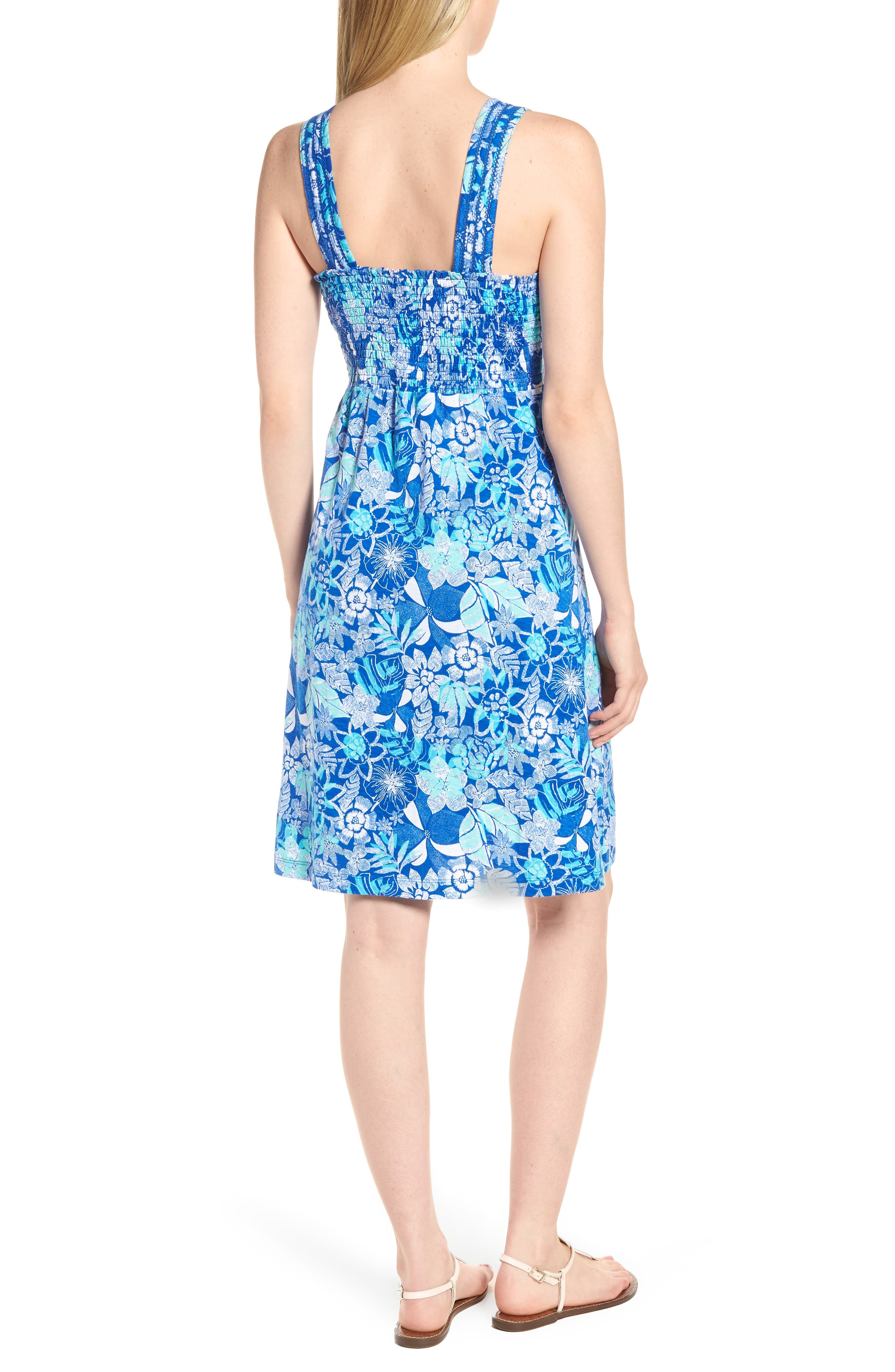 Boardwalk Blooms A-Line Dress,                             Alternate thumbnail 2, color,                             COBALT