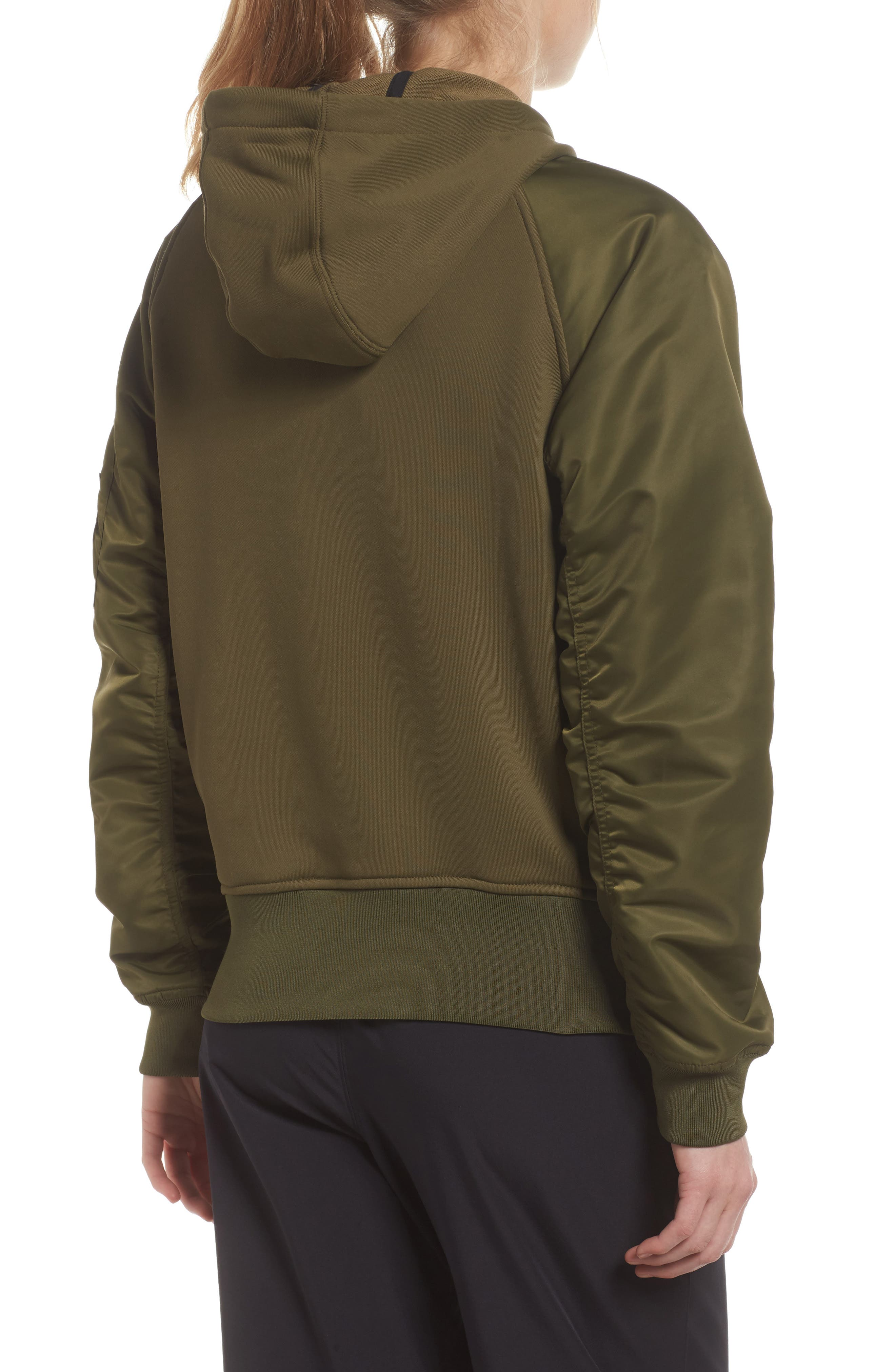 NikeLab Women's Mixed Media Bomber Jacket,                             Alternate thumbnail 3, color,
