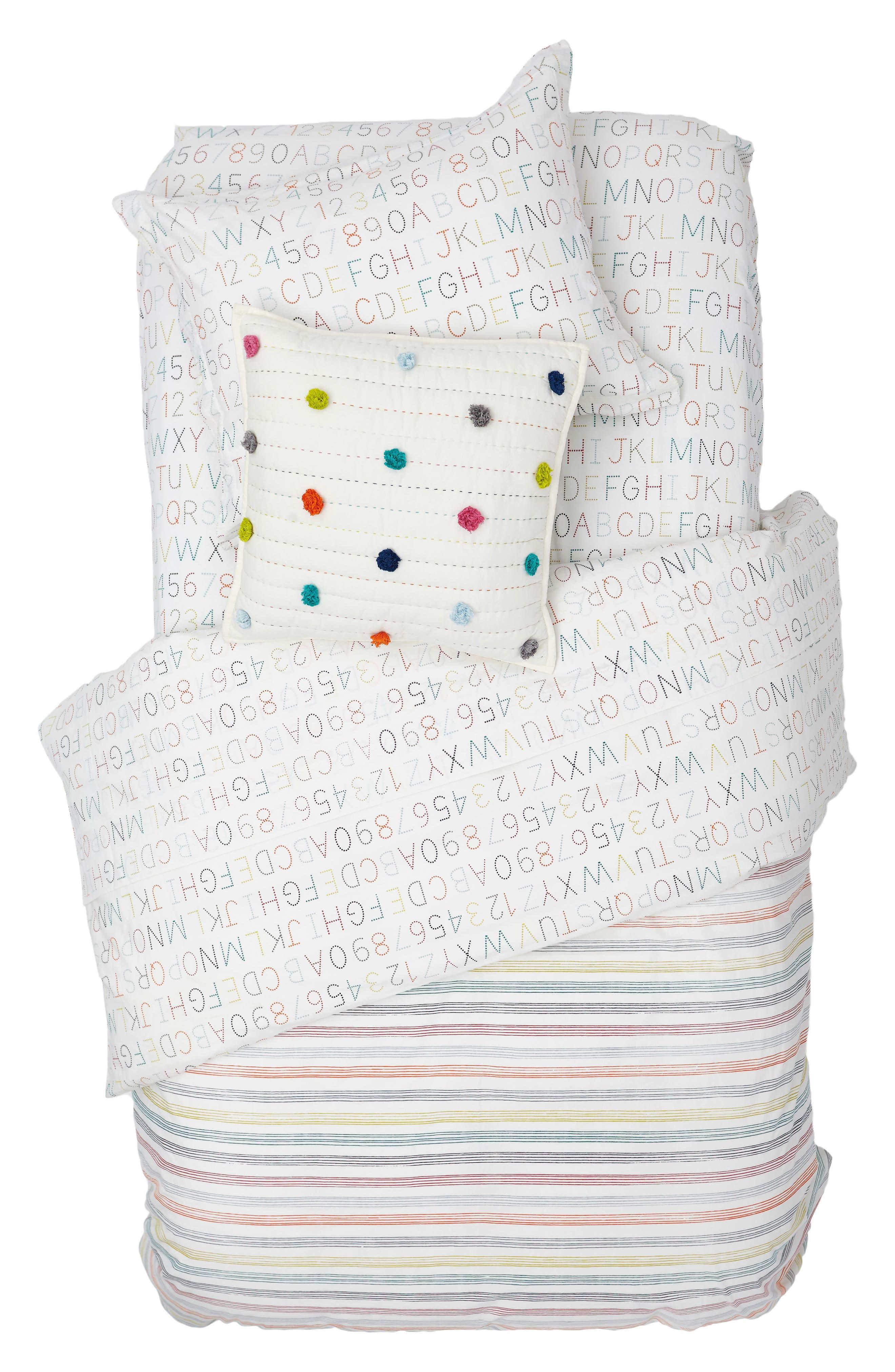 Alphabet Reversible Duvet Cover,                         Main,                         color, 100