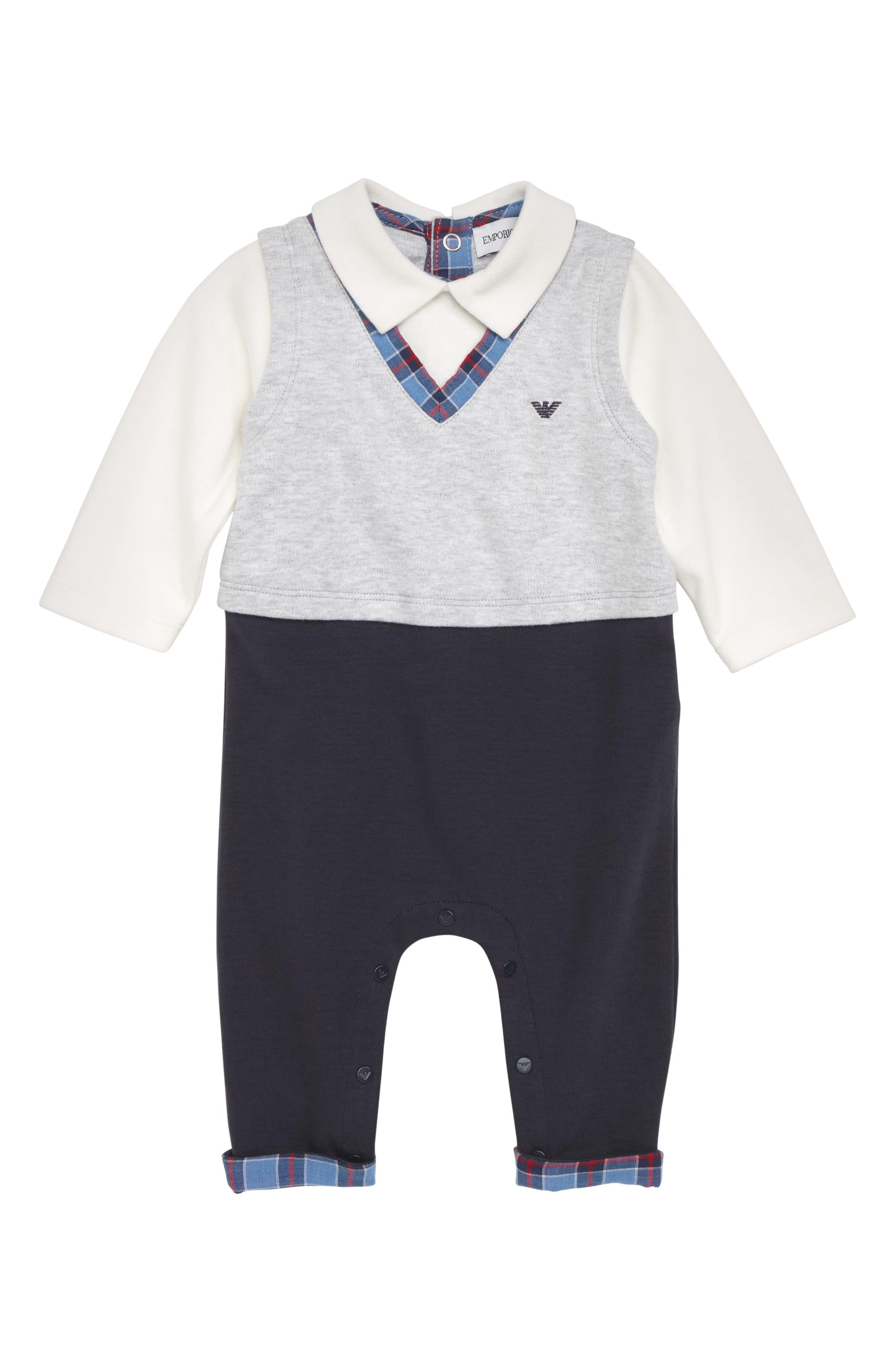 Polo Vest Romper,                         Main,                         color, SOLID BLUE NAVY
