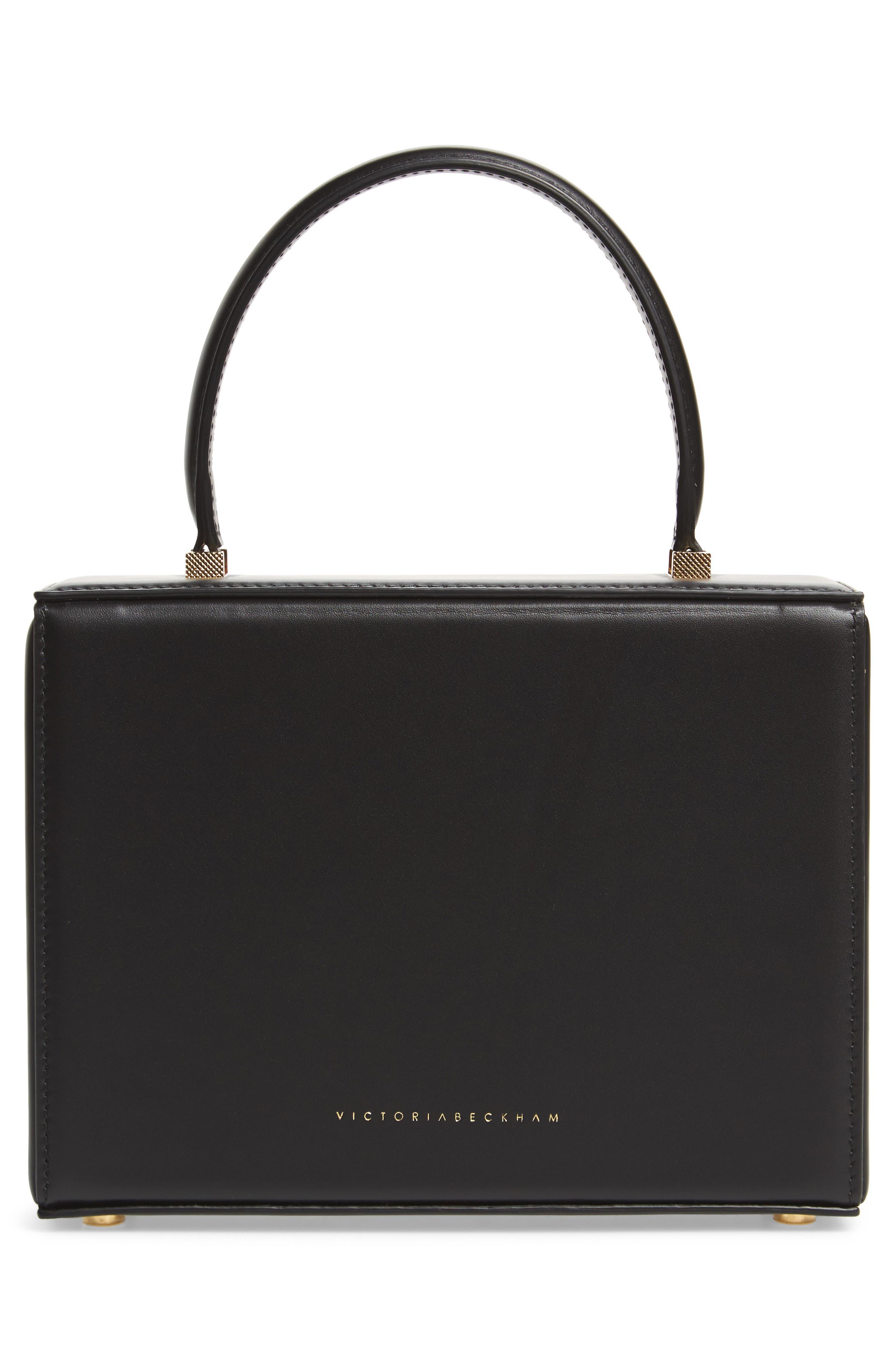 Mini Vanity Top Handle Box Bag,                             Alternate thumbnail 3, color,                             BLACK