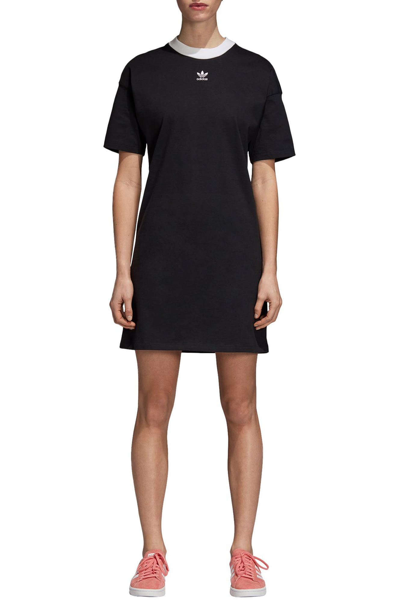 Trefoil T-Shirt Dress,                             Alternate thumbnail 6, color,                             TREFOIL BLACK