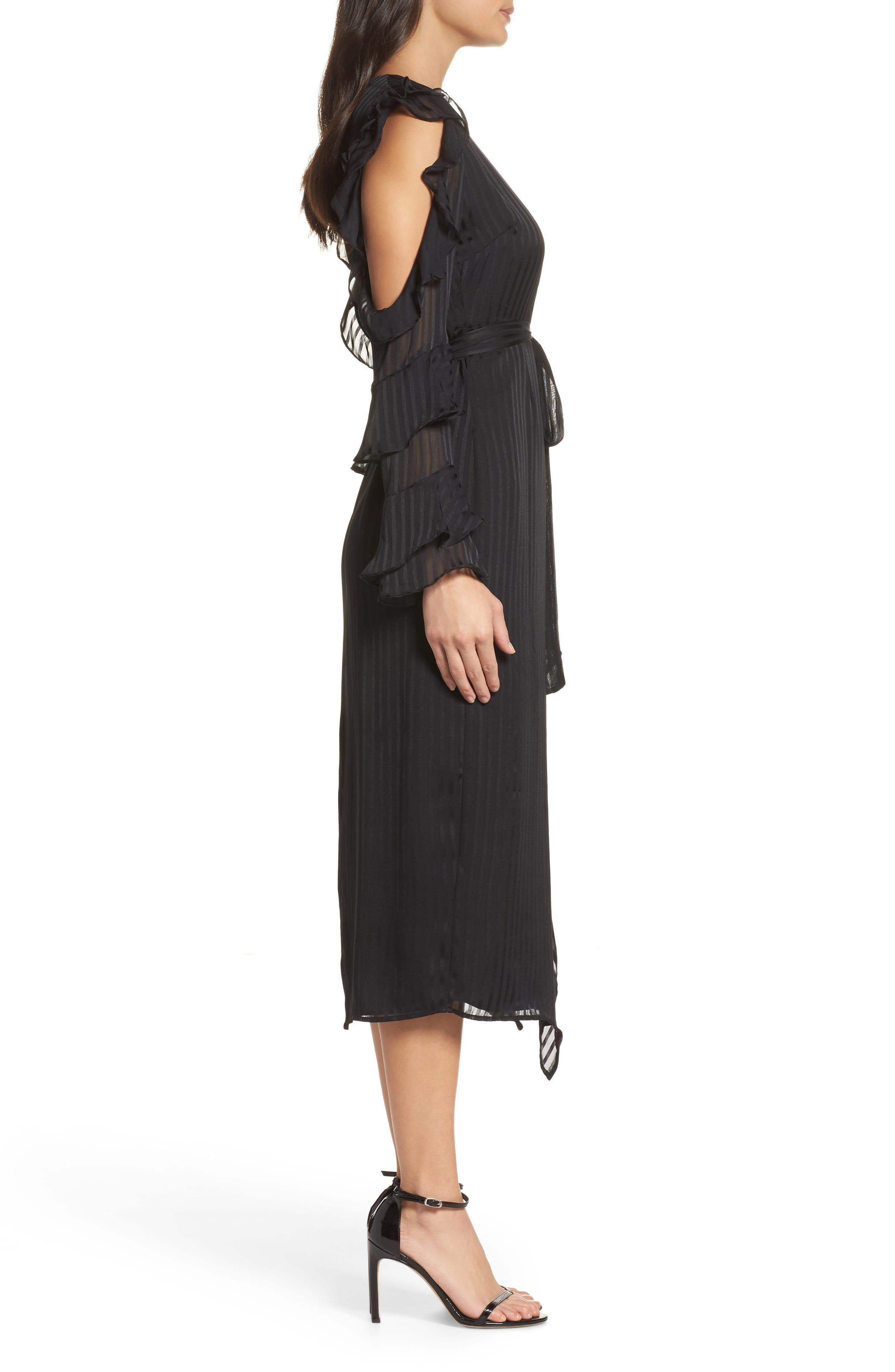 Midnight Cold Shoulder Wrap Dress,                             Alternate thumbnail 3, color,                             001