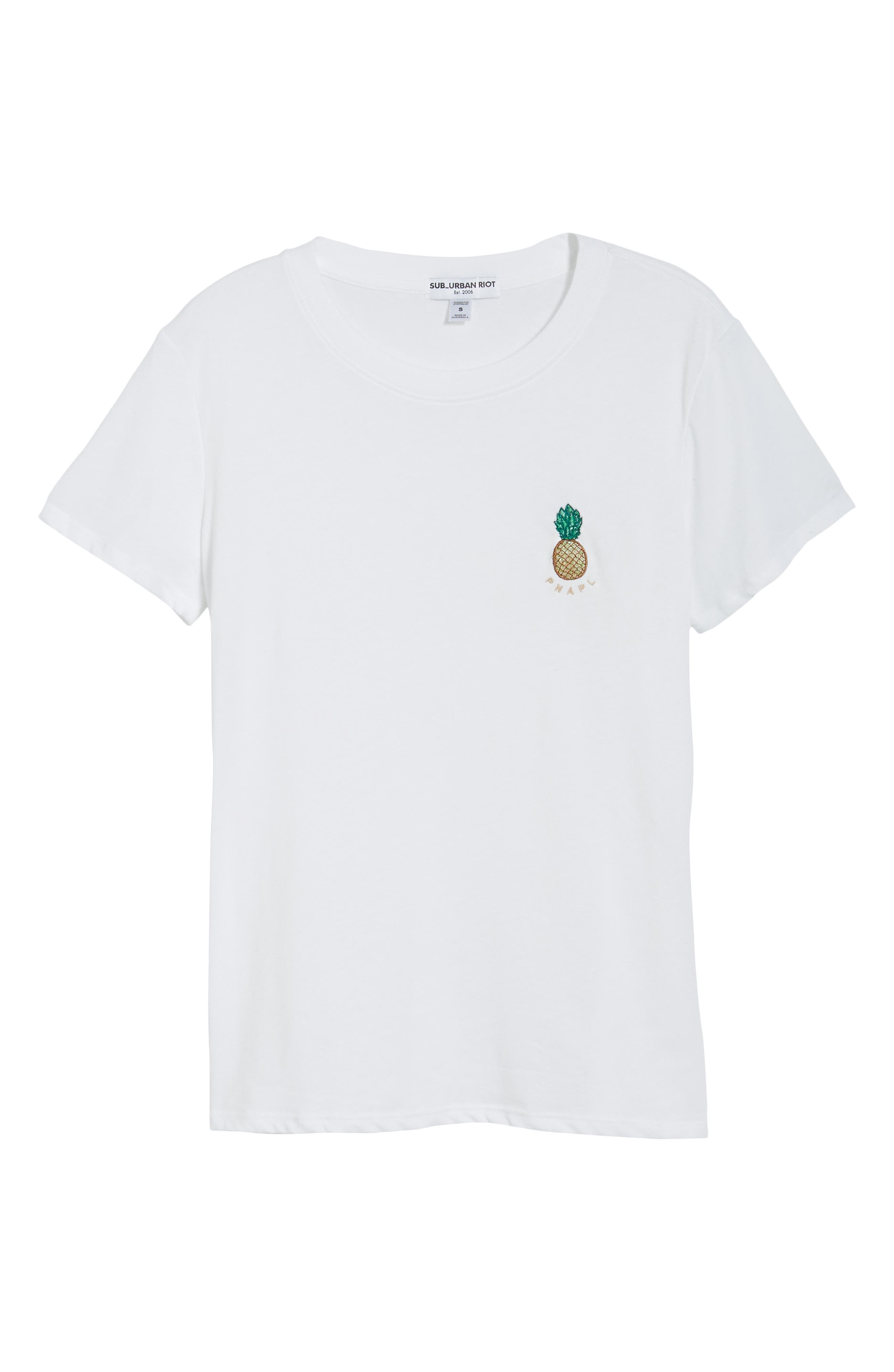 Pineapple Embellished Slouched Tee,                             Alternate thumbnail 6, color,                             WHITE