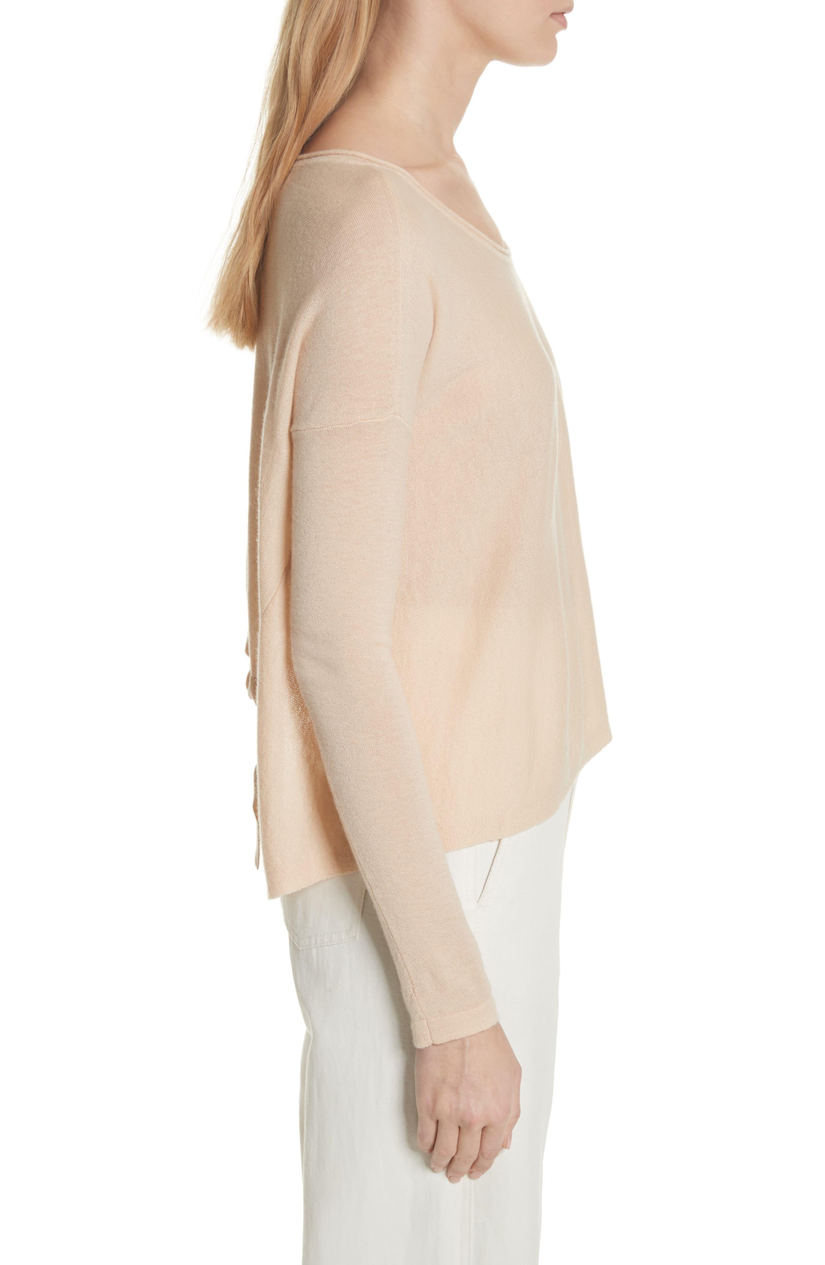 VINCE,                             Cinched Back Cashmere Sweater,                             Alternate thumbnail 3, color,                             298