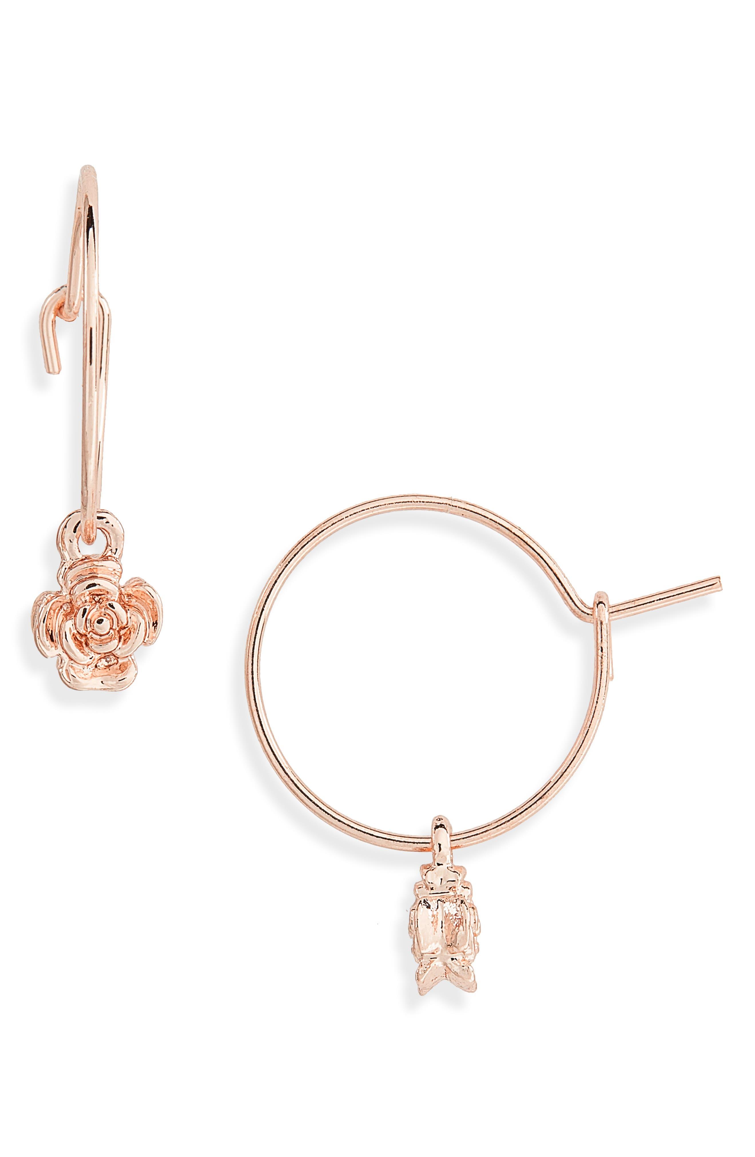 Rose Charm Hoop Earrings,                             Main thumbnail 1, color,                             712