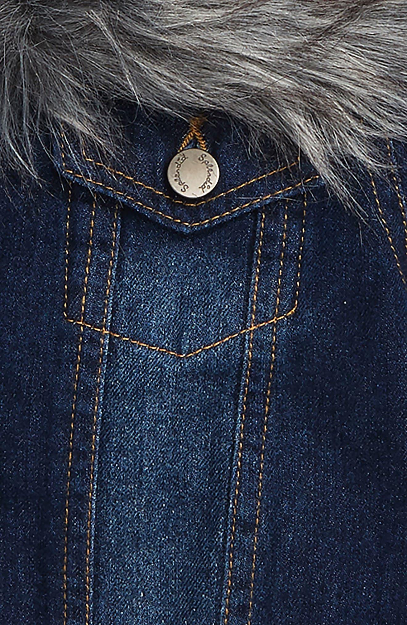 Denim Jacket with Removable Faux Fur Collar,                             Alternate thumbnail 2, color,                             MEDIUM STONE