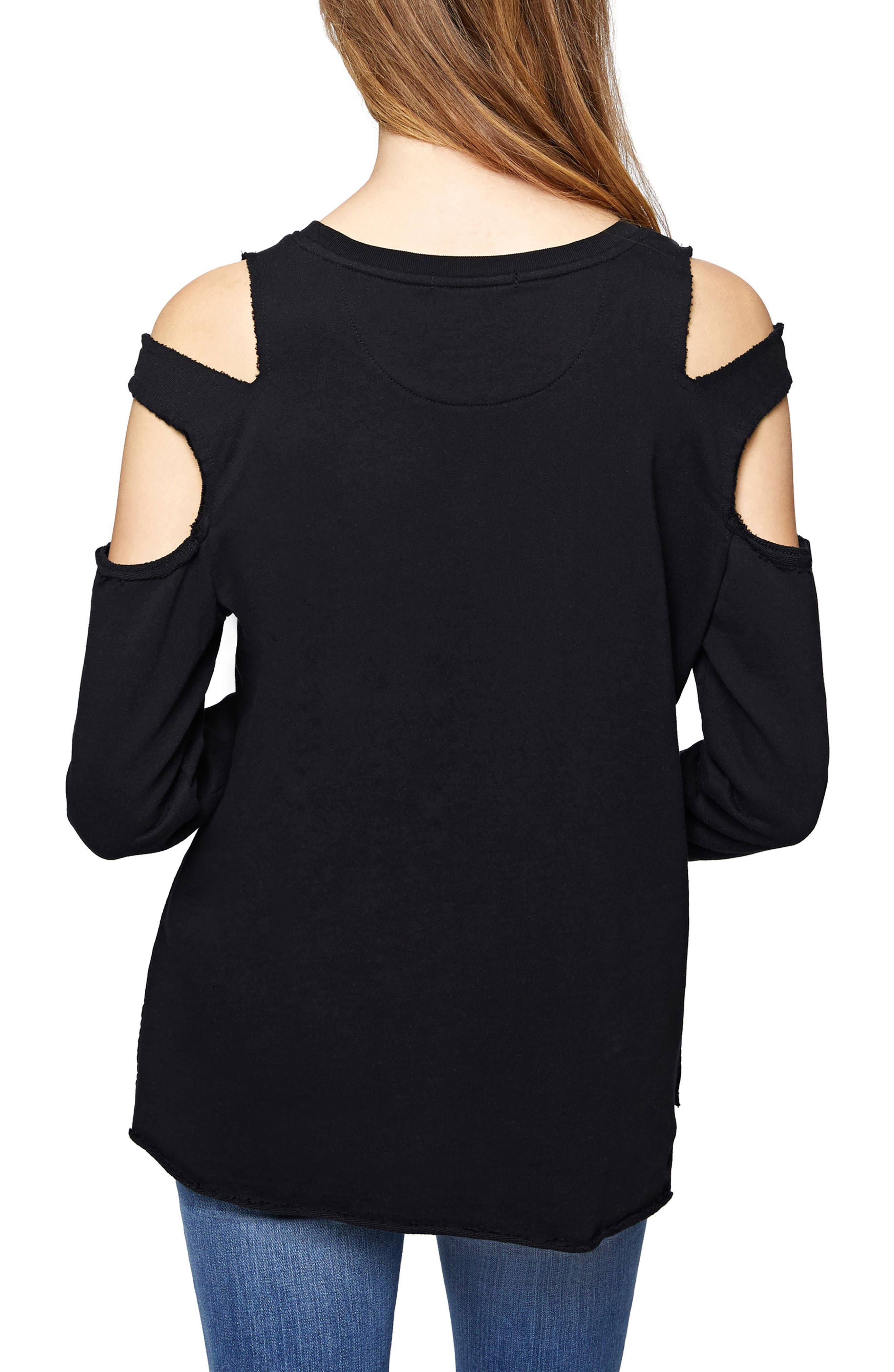 Park Slope Cold Shoulder Sweatshirt,                             Alternate thumbnail 2, color,                             001