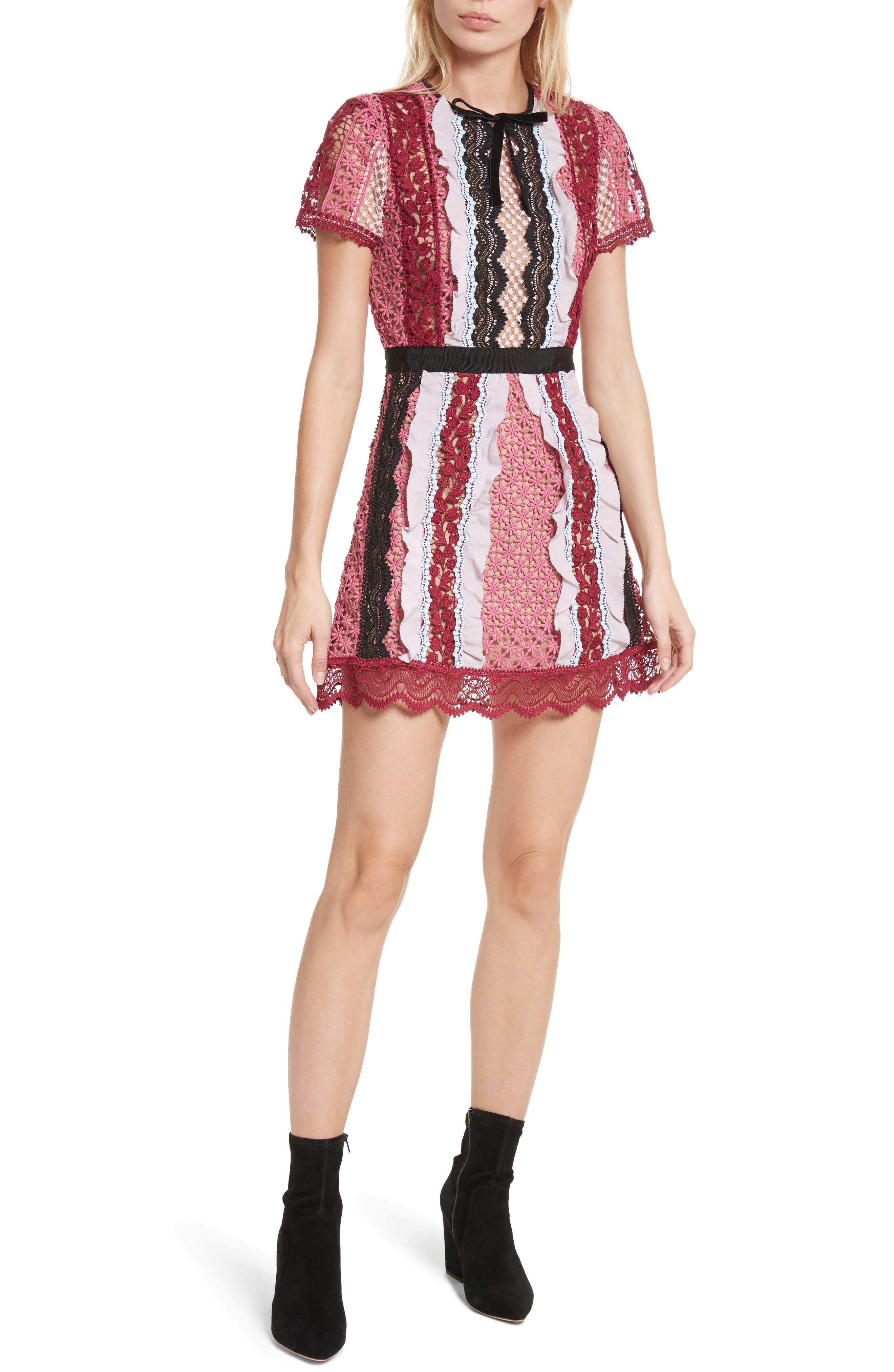 Paneled Bellis Lace Minidress,                             Main thumbnail 1, color,                             650