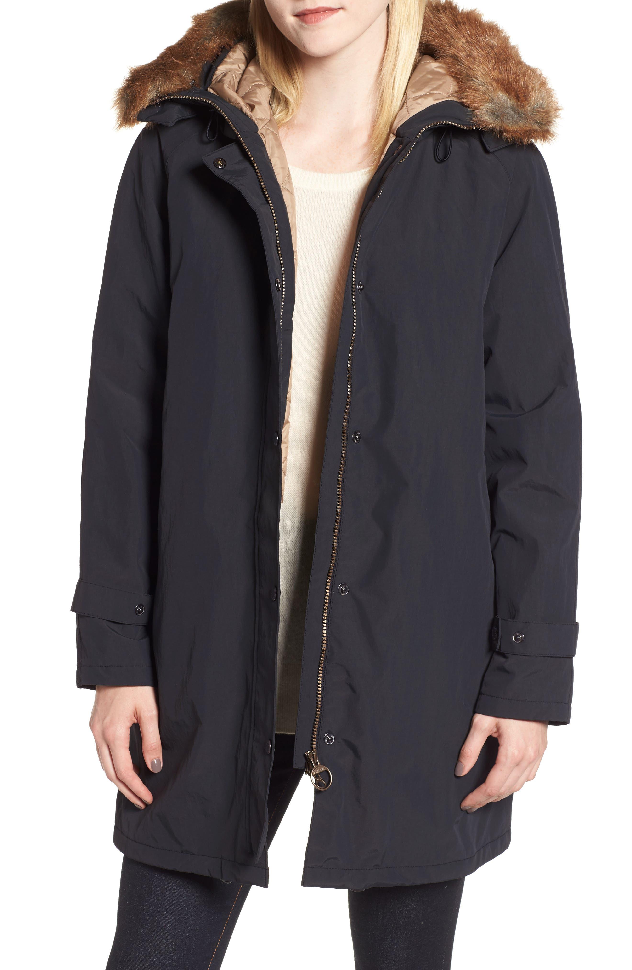 Barbour Dexy Jacket With Faux Fur Trim, US / 12 UK - Black