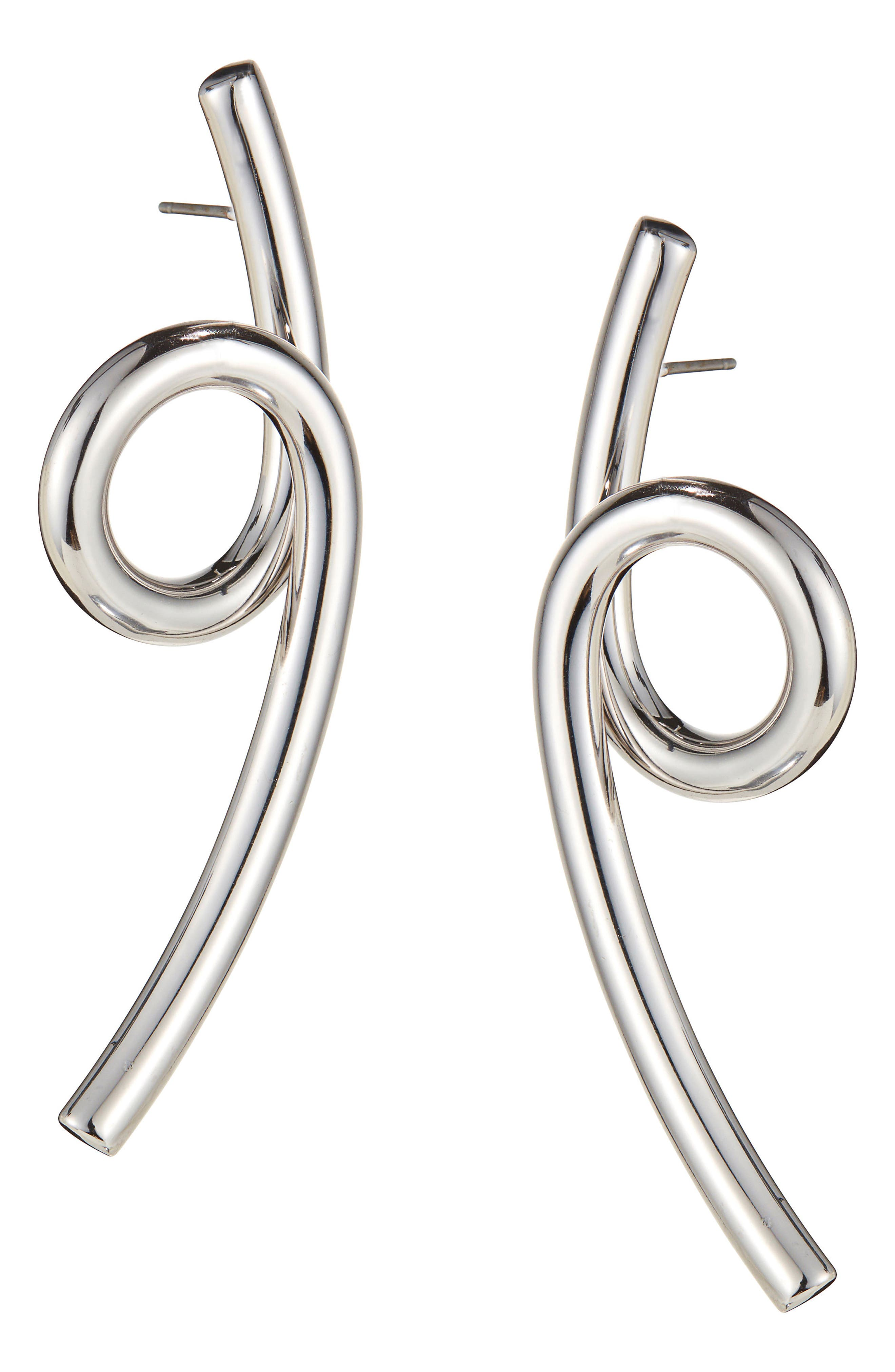 Coil Earrings,                         Main,                         color, SILVER