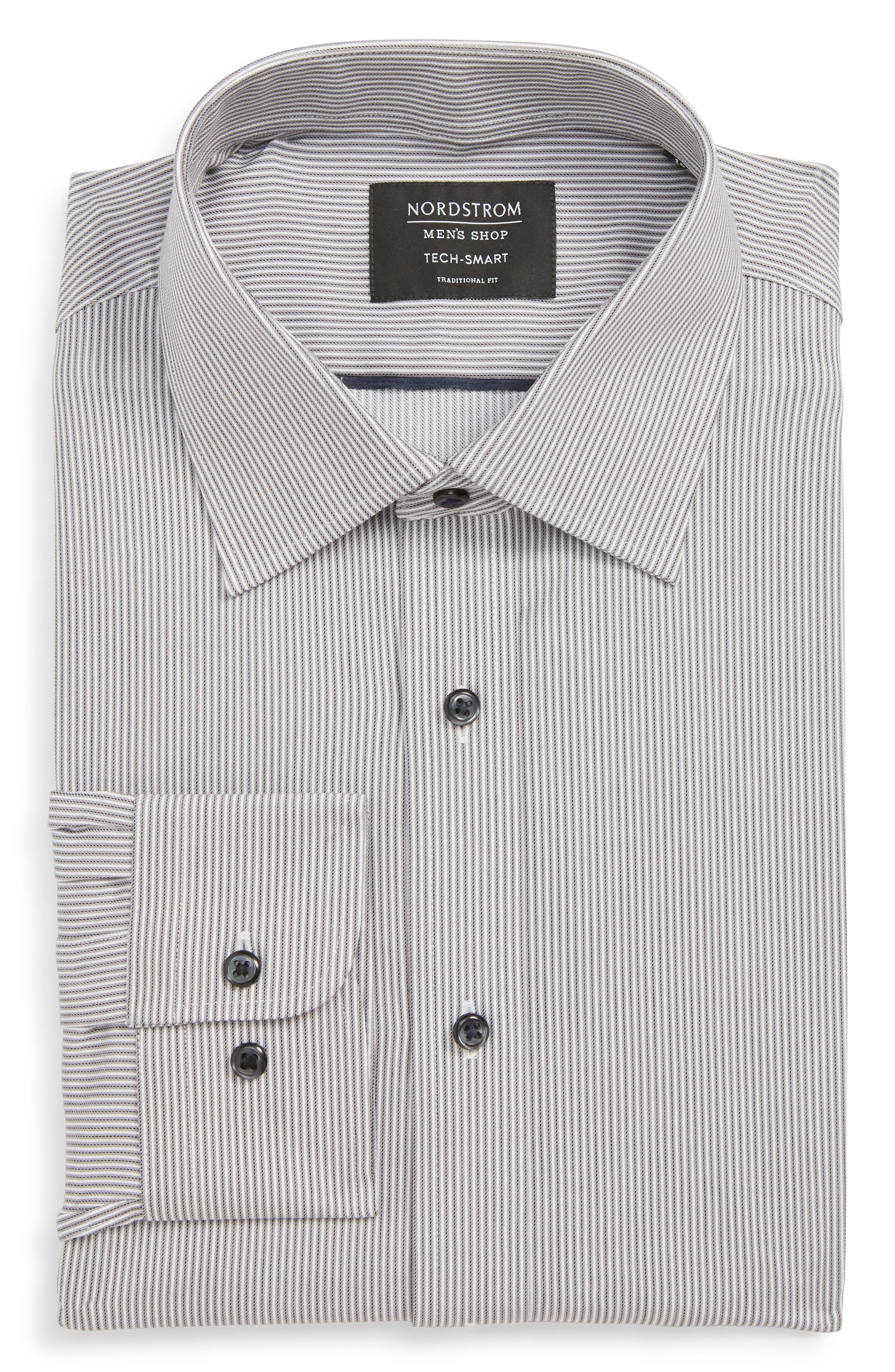 Tech-Smart Traditional Fit Stripe Stretch Dress Shirt,                         Main,                         color, GREY ONYX