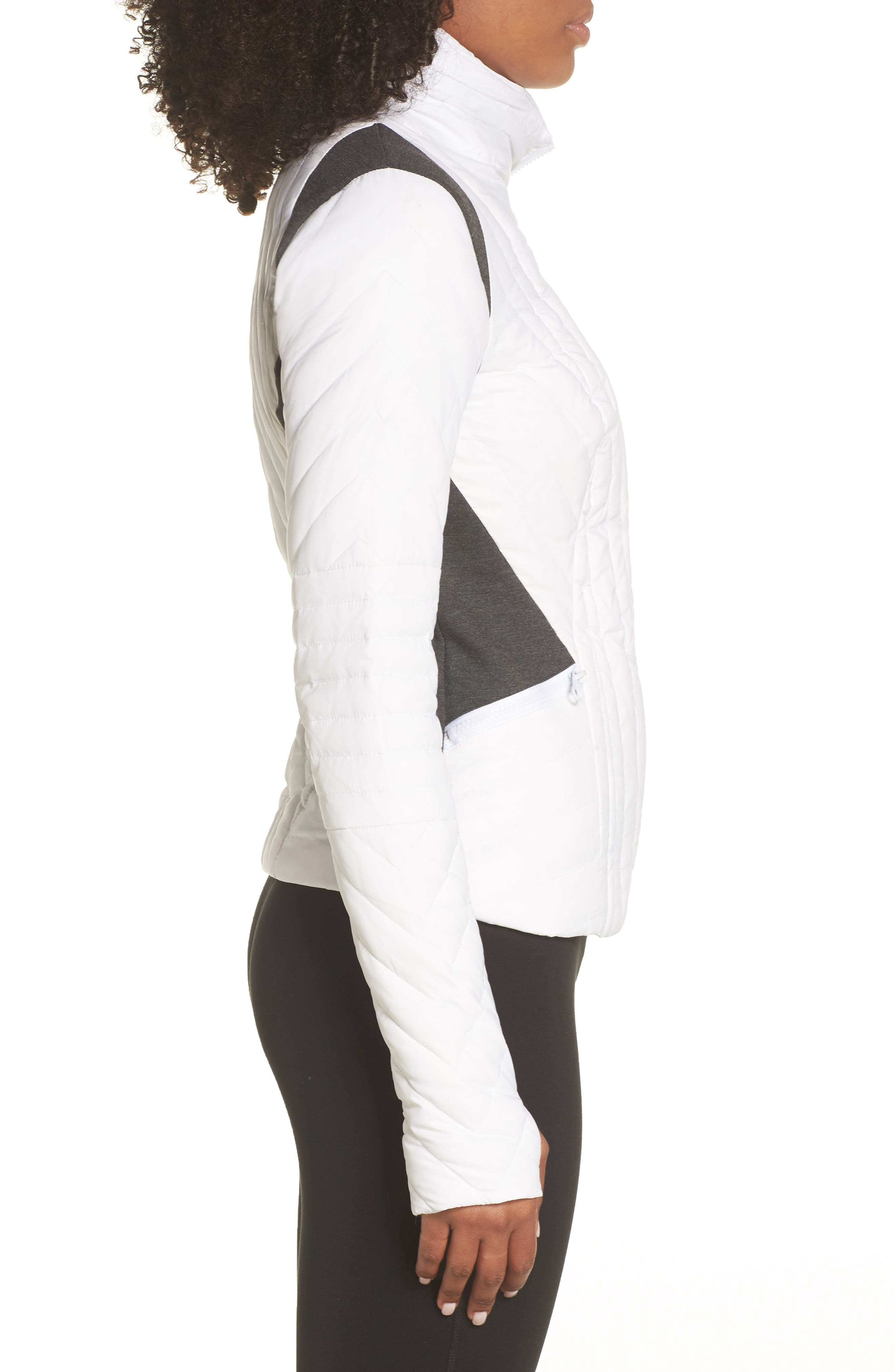 BLANC NOIR,                             Motion Panel Down Puffer Jacket,                             Alternate thumbnail 3, color,                             WHITE/ HEATHER GREY