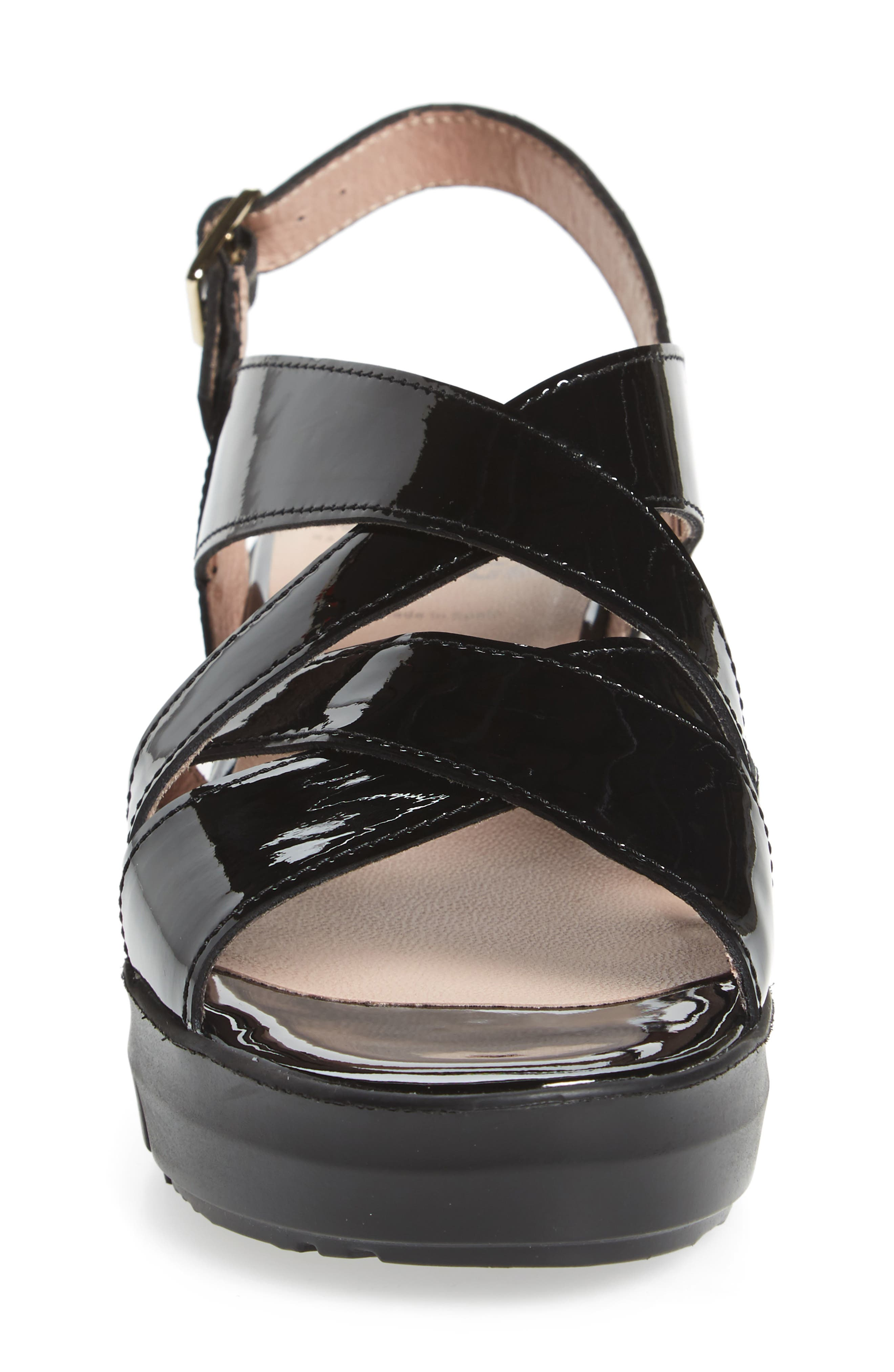 Platform Wedge Sandal,                             Alternate thumbnail 4, color,                             BLACK LEATHER
