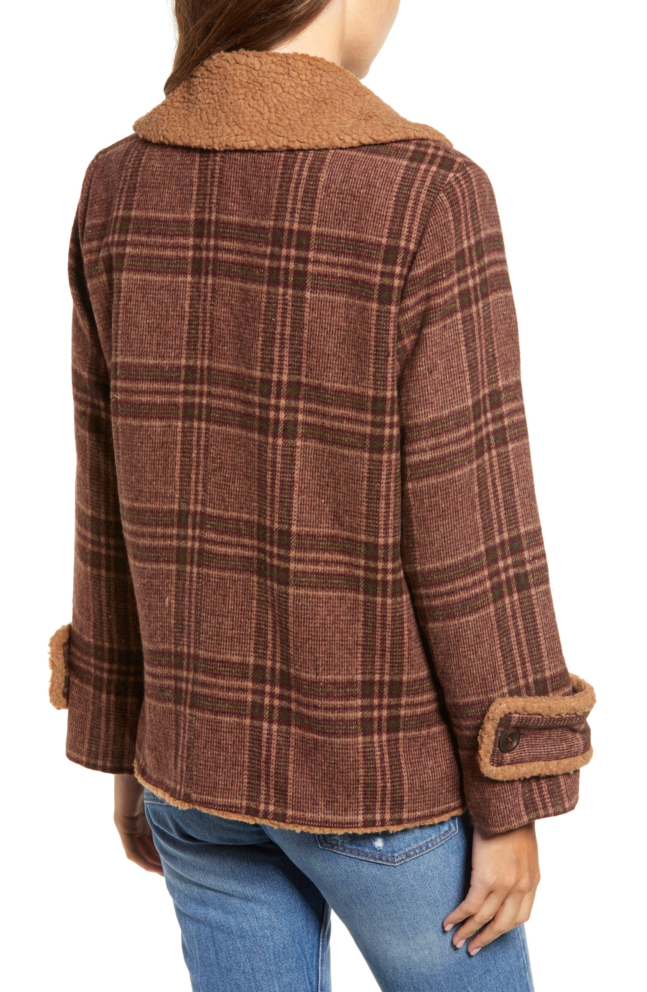 Faux Shearling Trim Plaid Jacket,                             Alternate thumbnail 2, color,                             BROWN PLAID
