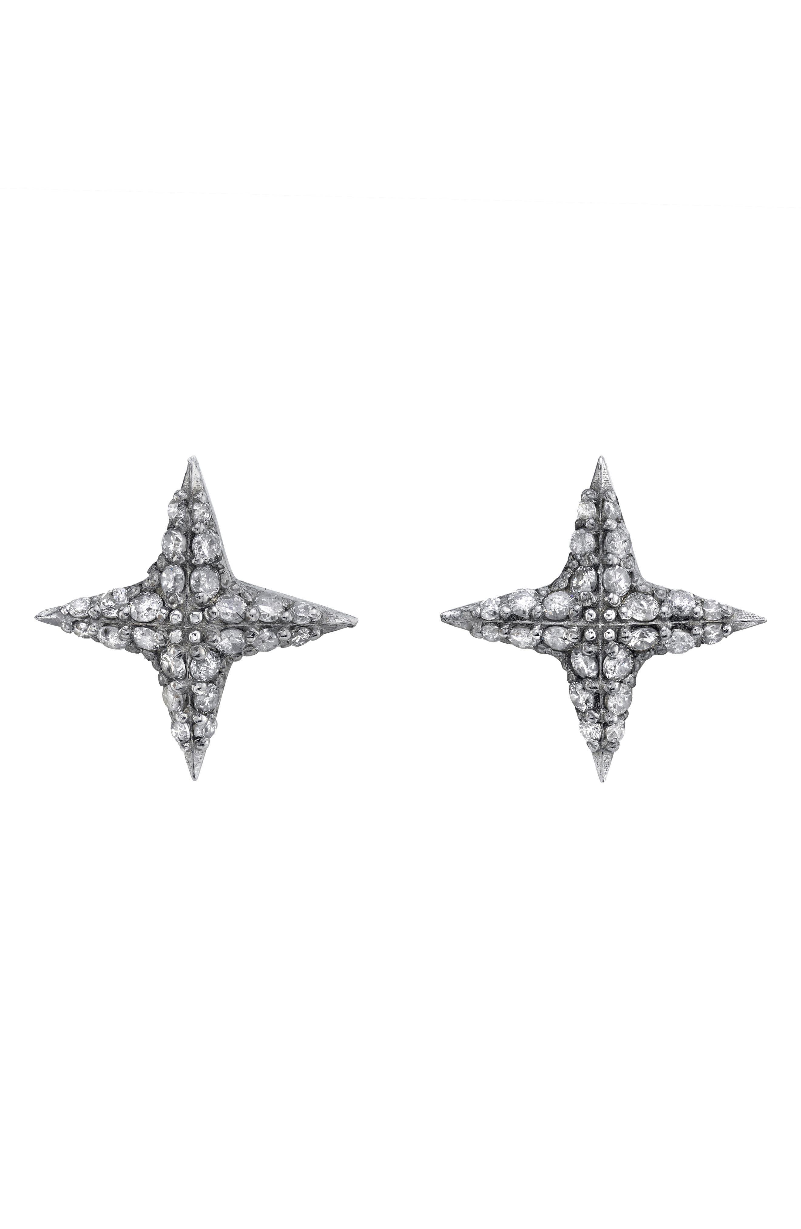 Diamond Star Stud Earrings in Sterling Silver