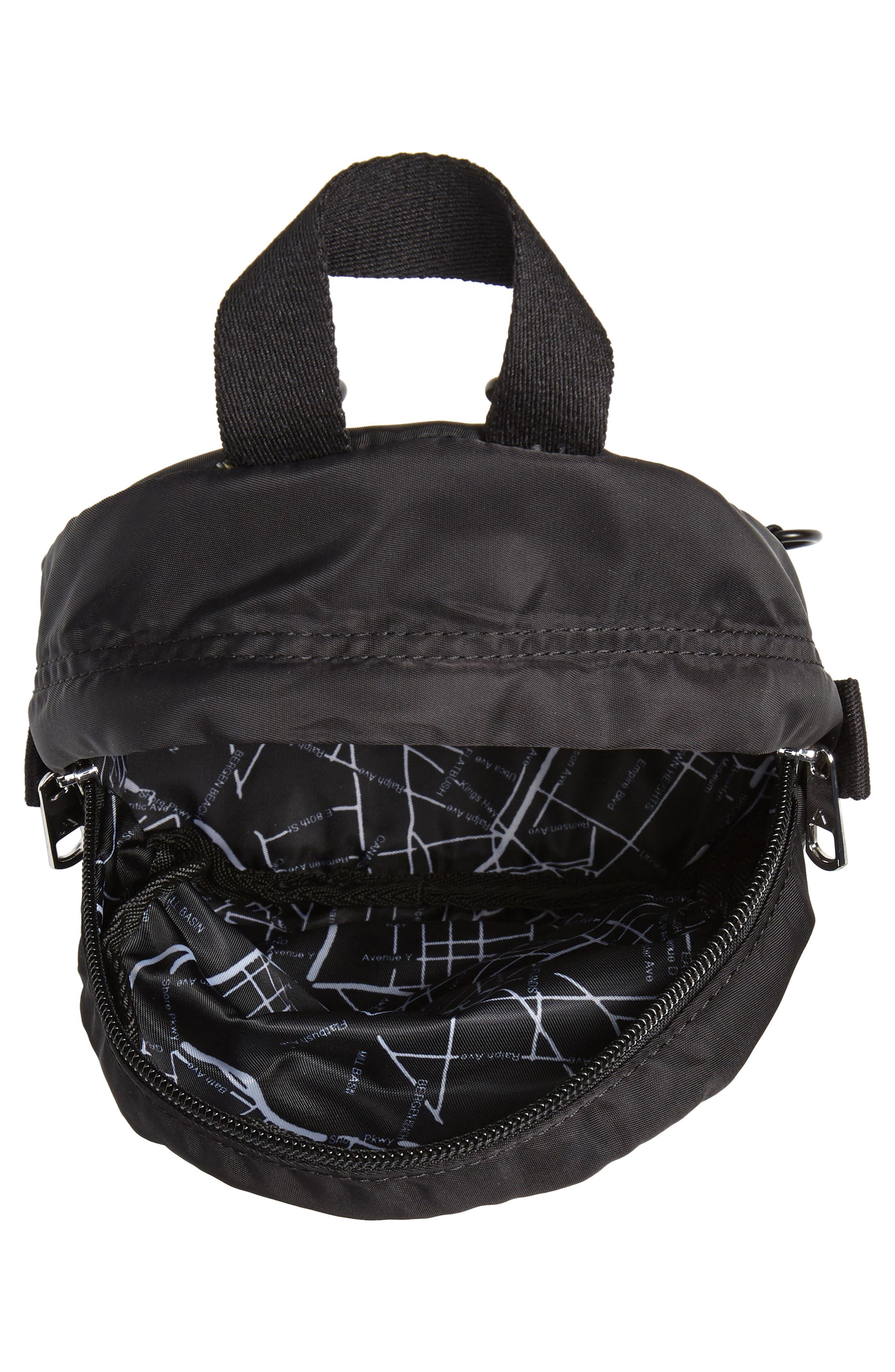 Mini Hart Convertible Nylon Backpack,                             Alternate thumbnail 5, color,                             BLACK