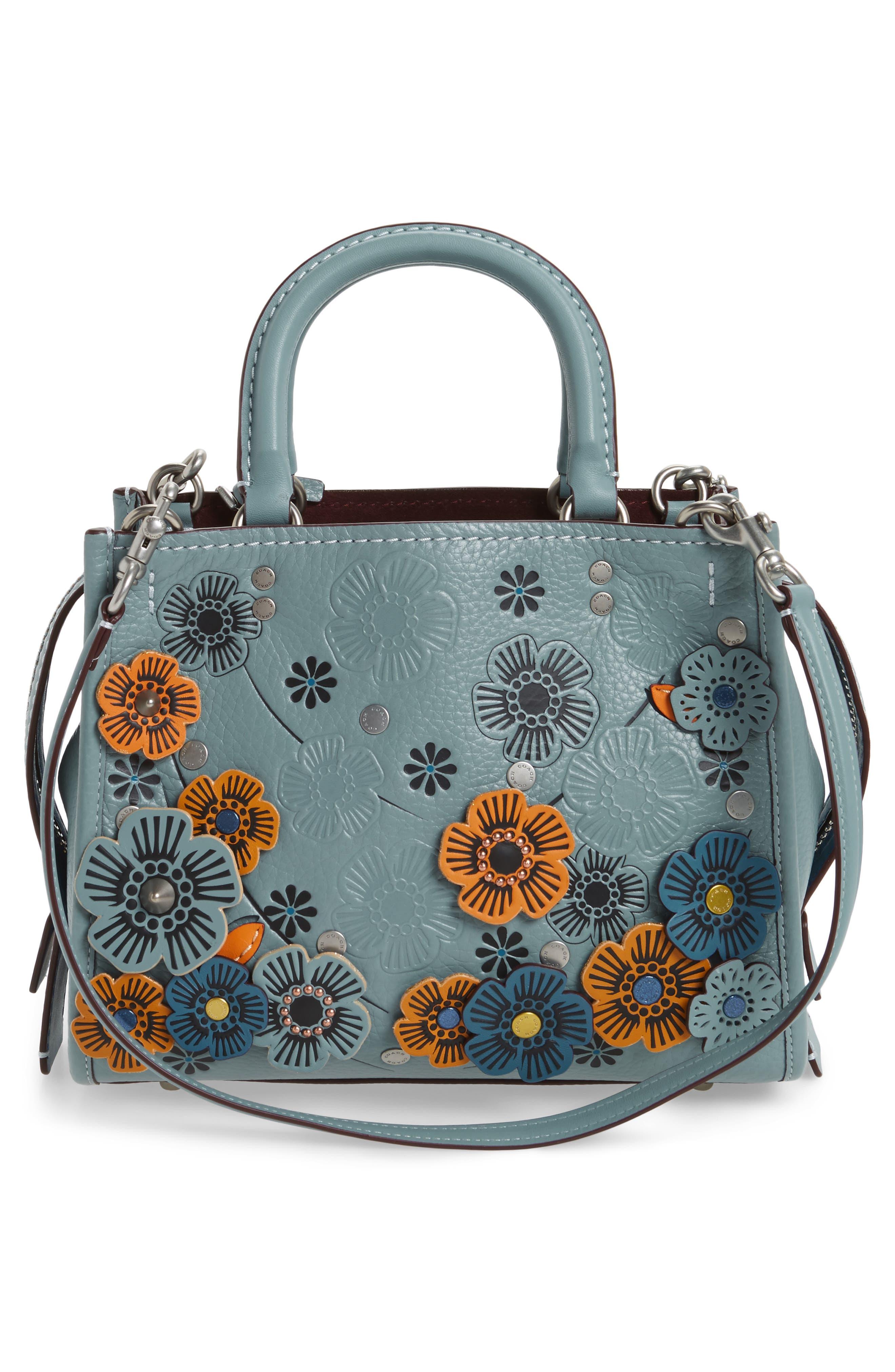 Rogue 25 Tea Rose Appliqué Leather Crossbody Bag,                             Alternate thumbnail 3, color,