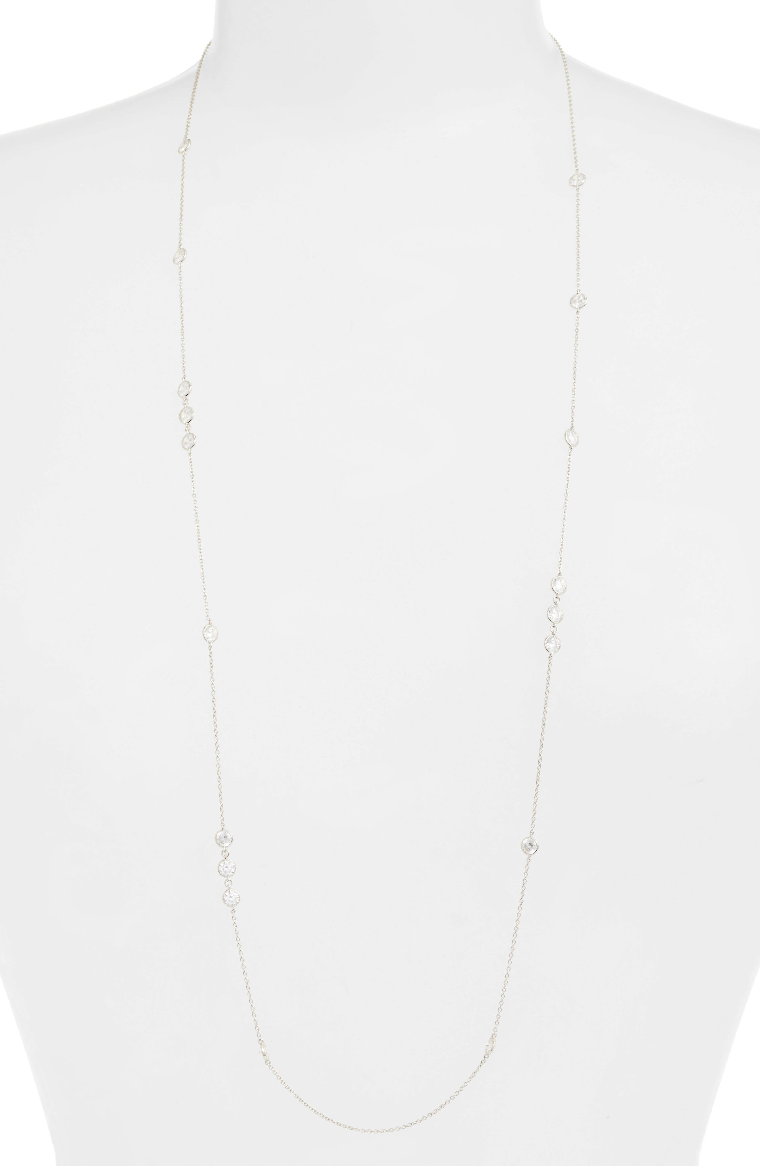 Long Simulated Diamond Station Necklace,                             Main thumbnail 1, color,                             SILVER