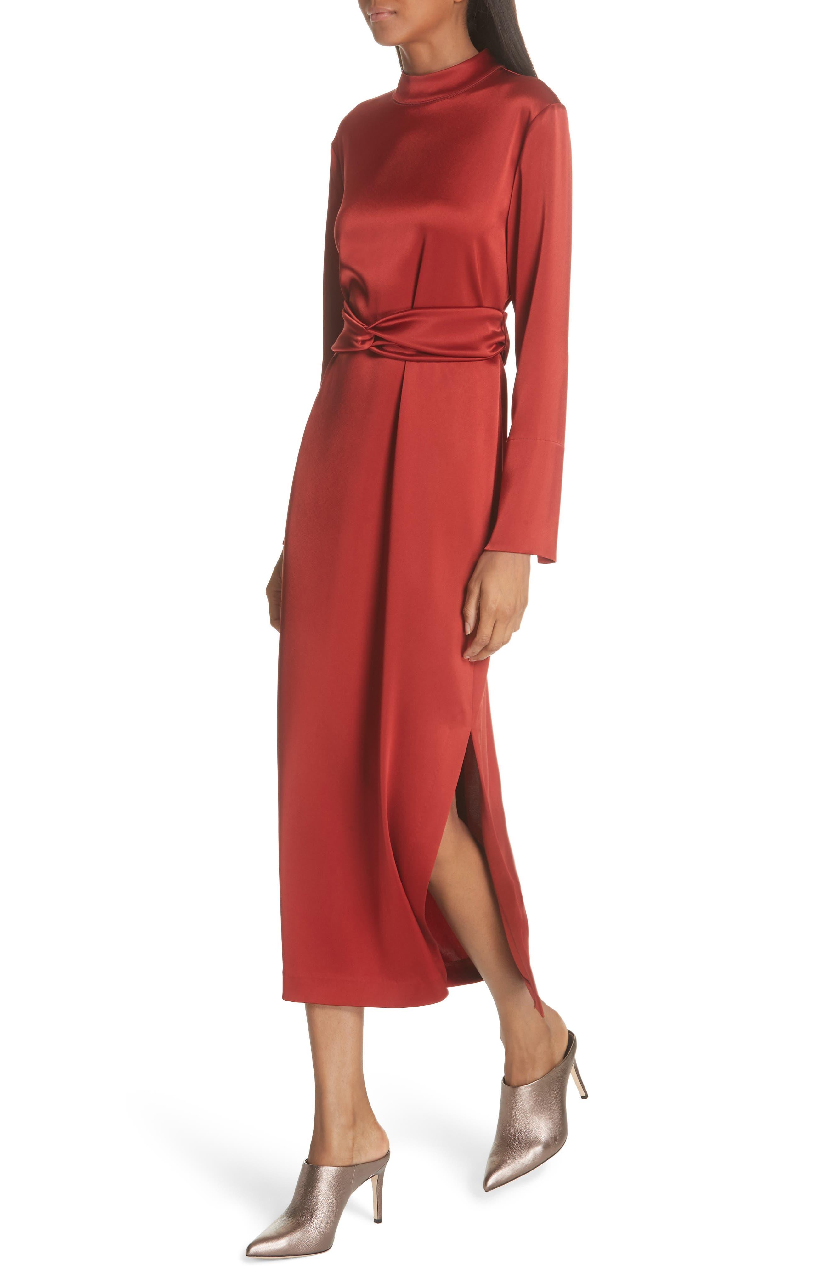 Sadie Belted Satin Dress,                             Alternate thumbnail 4, color,                             640