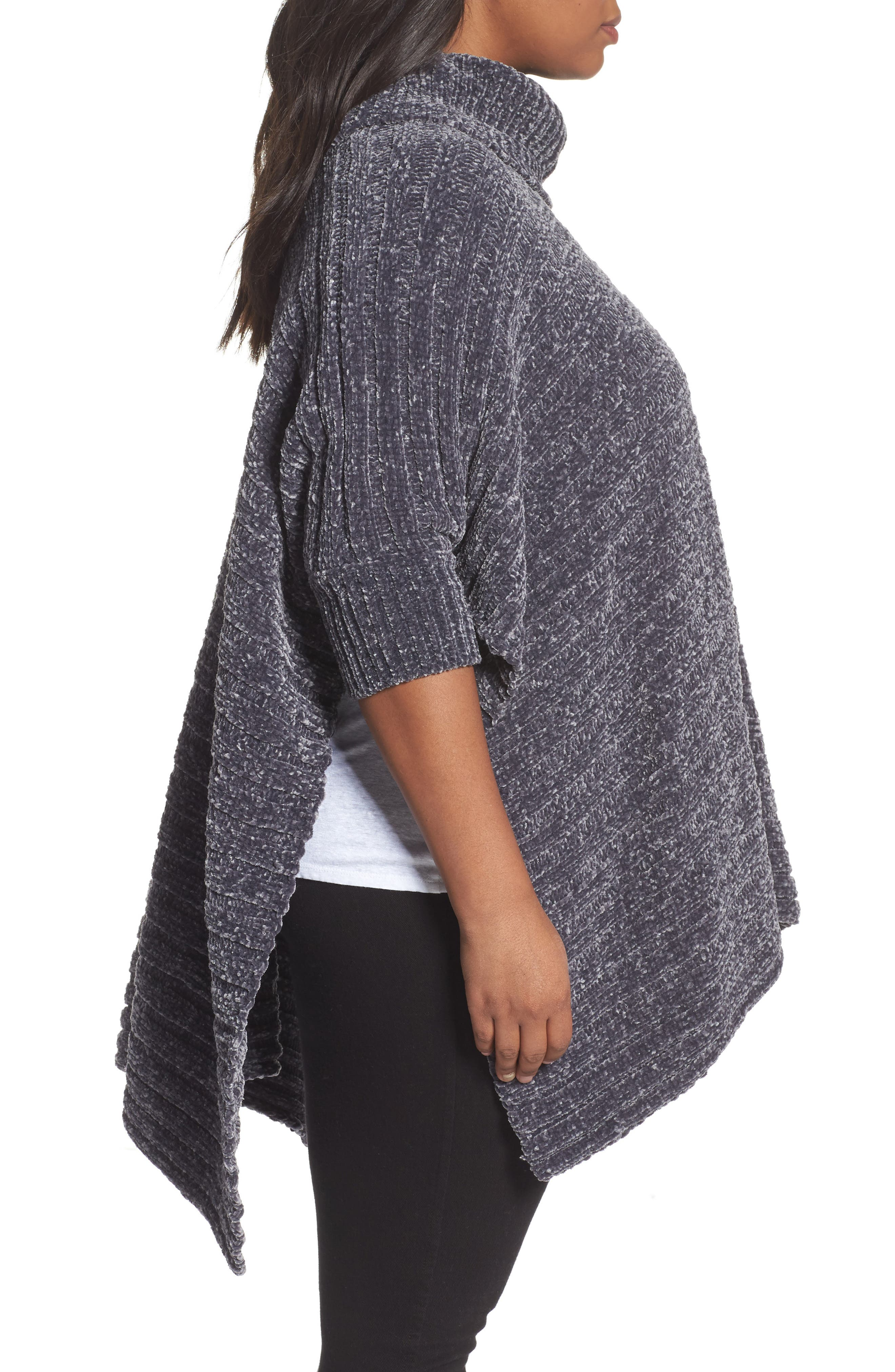 Chenille Poncho,                             Alternate thumbnail 3, color,                             030