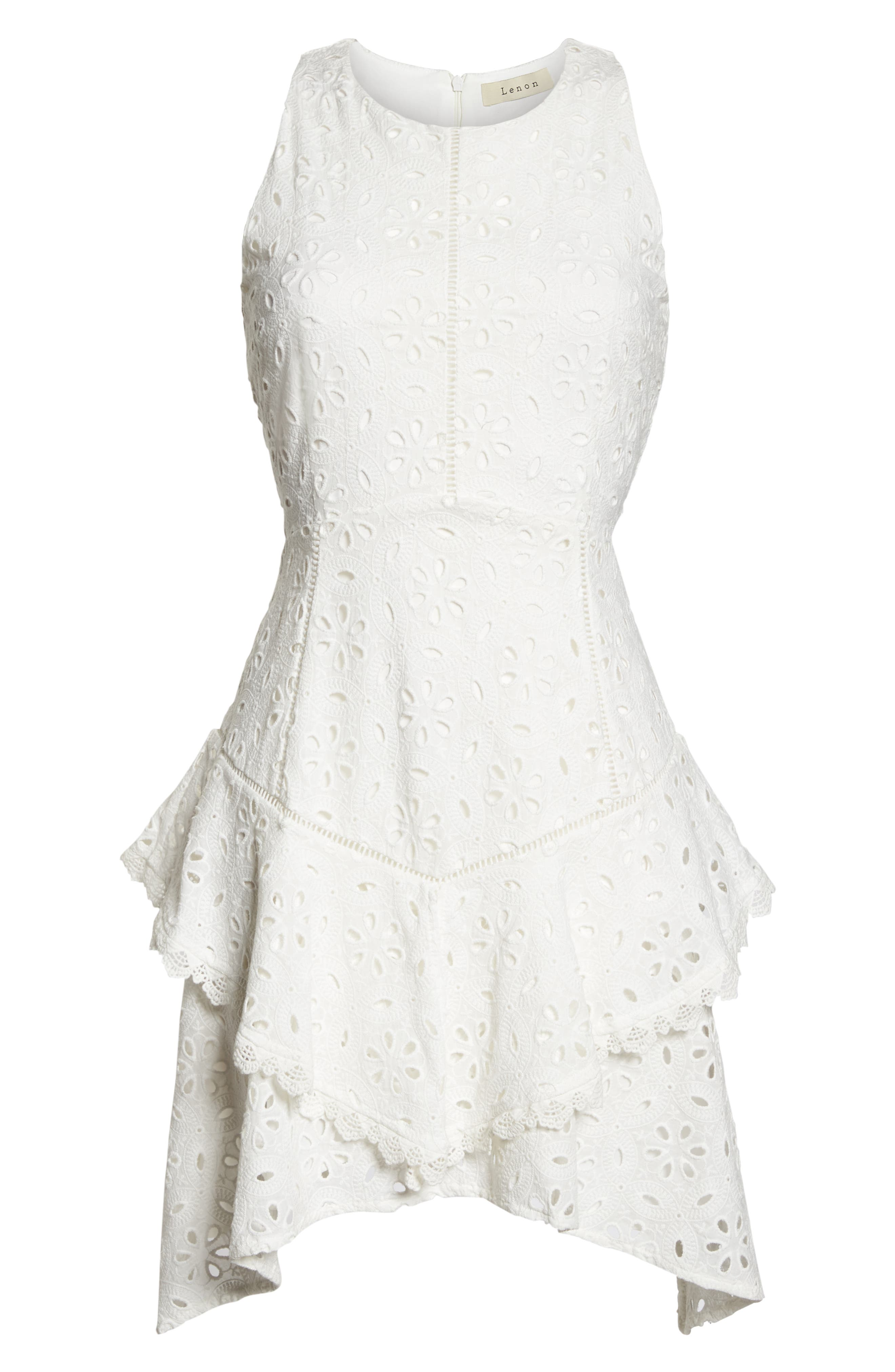 Eyelet Layered Fit & Flare Dress,                             Alternate thumbnail 7, color,                             100