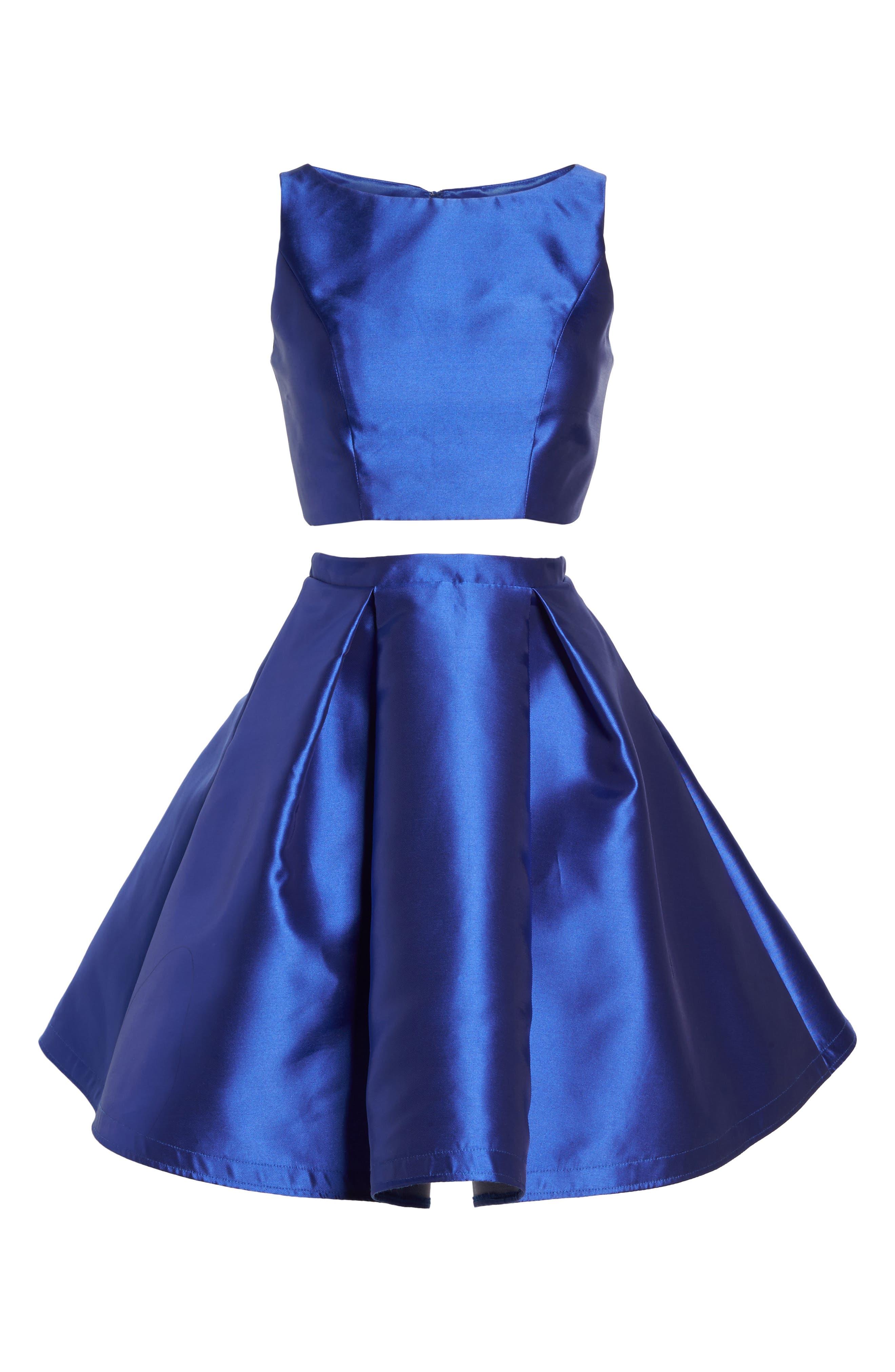 Skater Skirt Two-Piece Dress,                             Alternate thumbnail 6, color,                             SAPPHIRE