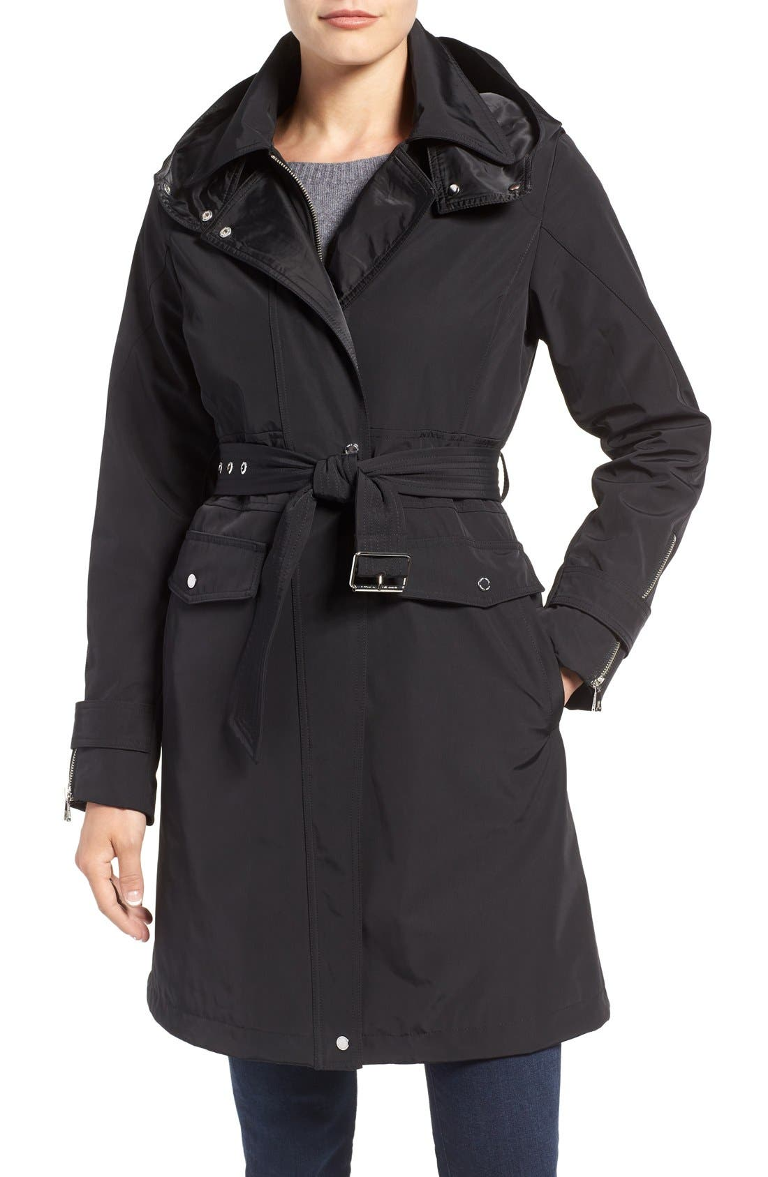 Hooded Trench Coat,                             Main thumbnail 1, color,                             001