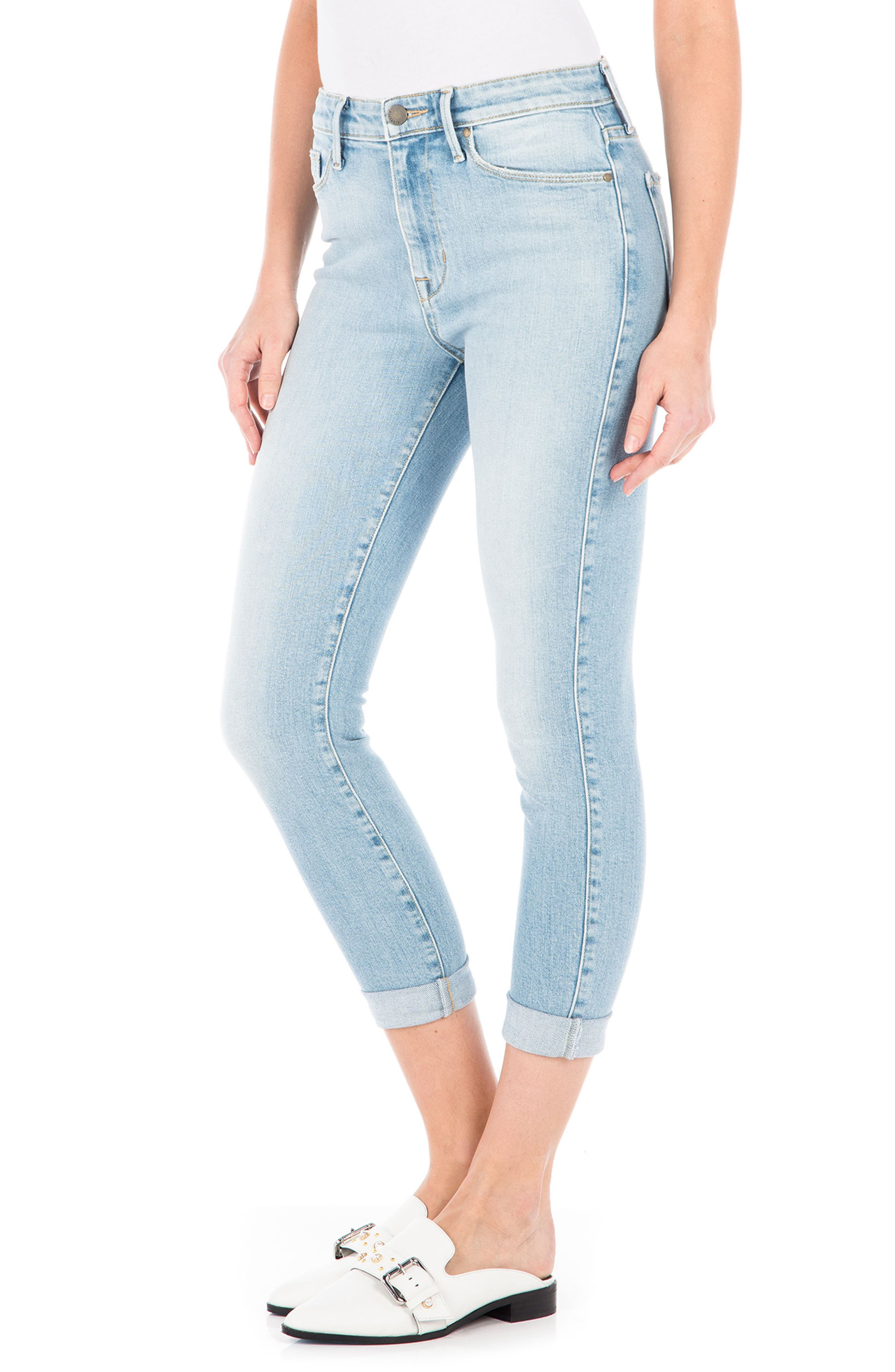 Gwen High Waist Crop Skinny Jeans,                             Alternate thumbnail 3, color,                             400