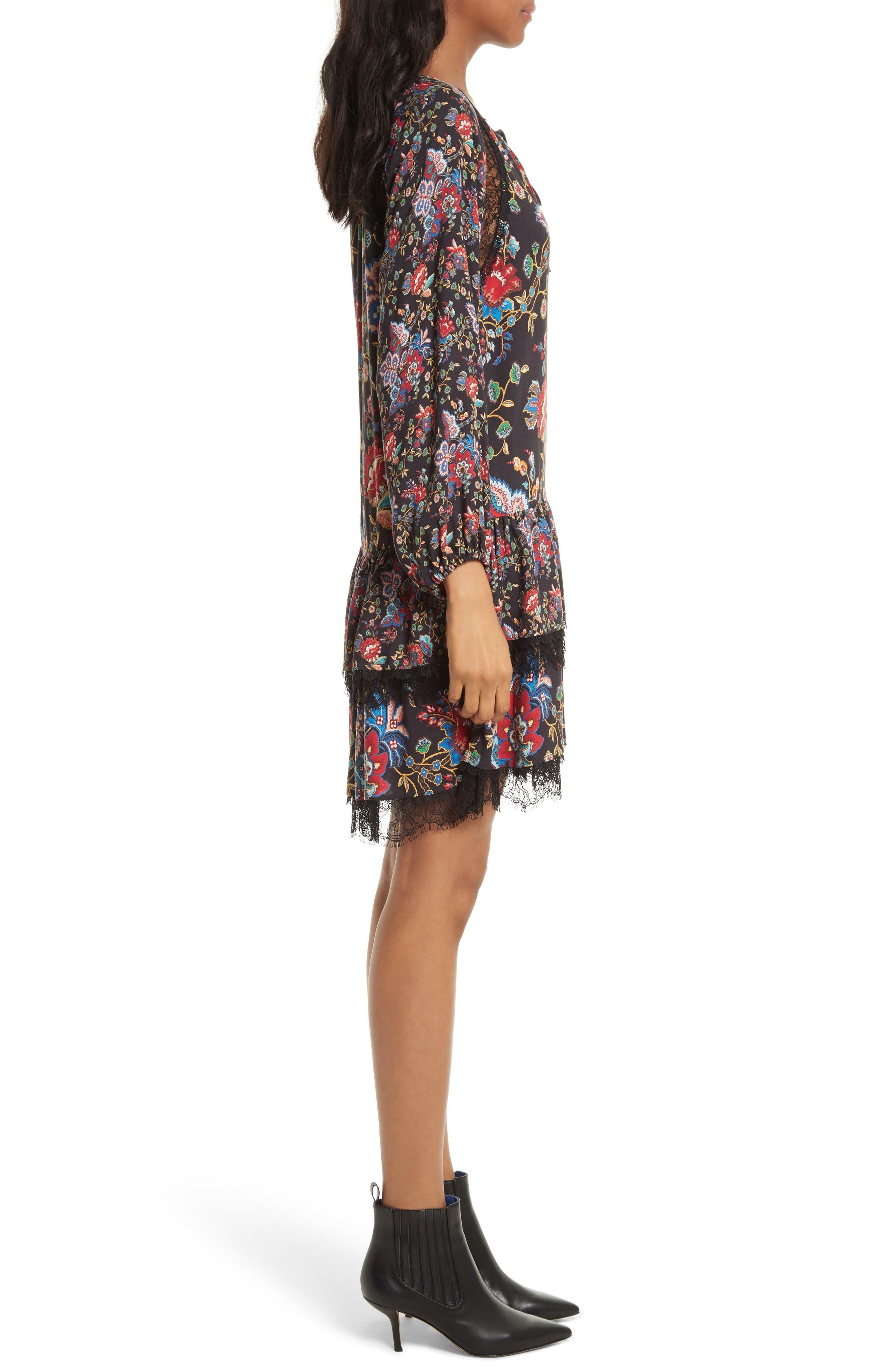 Lakita Tiered Tunic Dress,                             Alternate thumbnail 3, color,                             006
