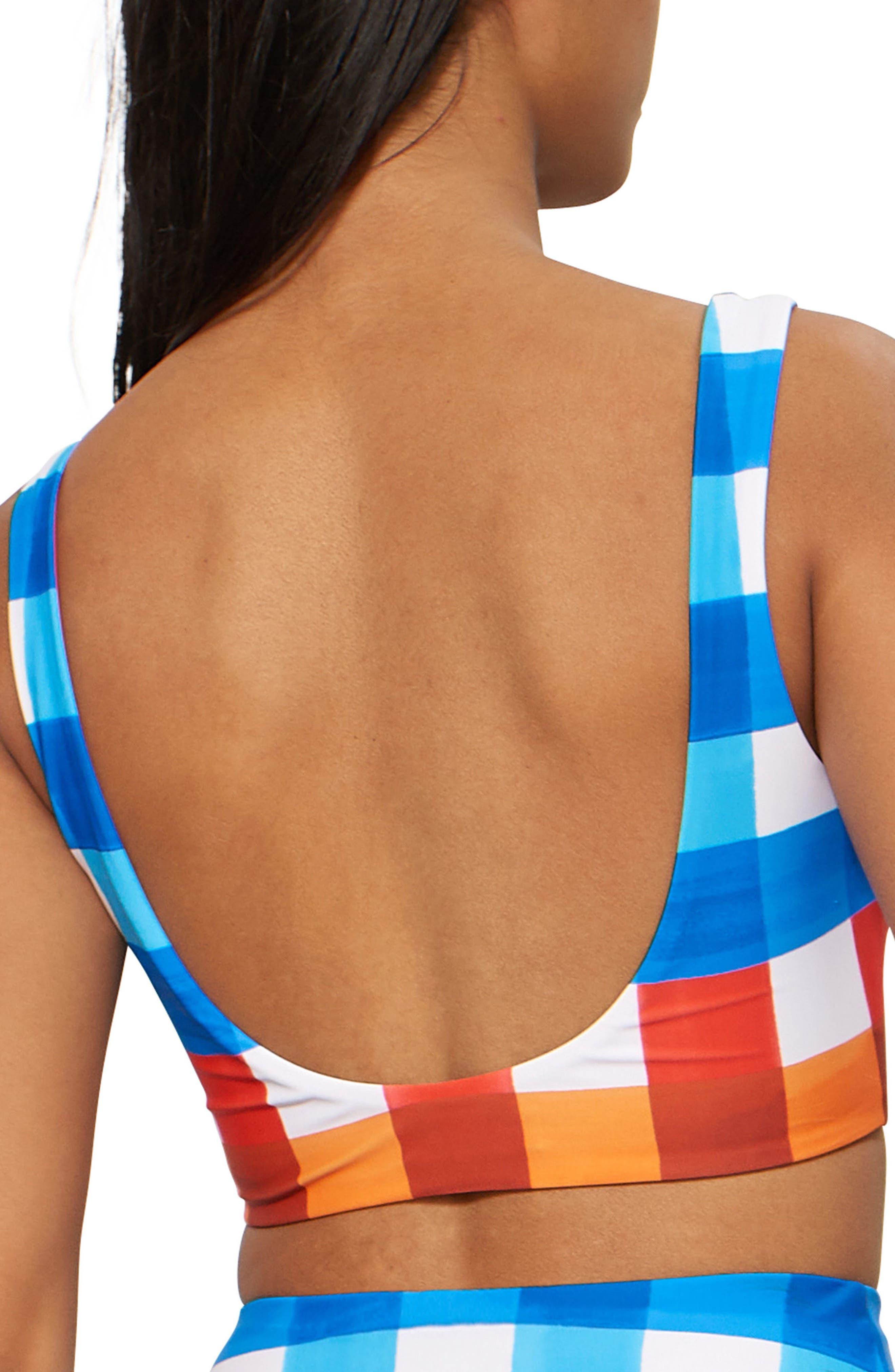 Lira Check Bikini Top,                             Alternate thumbnail 2, color,                             RED/ BLUE MULTI