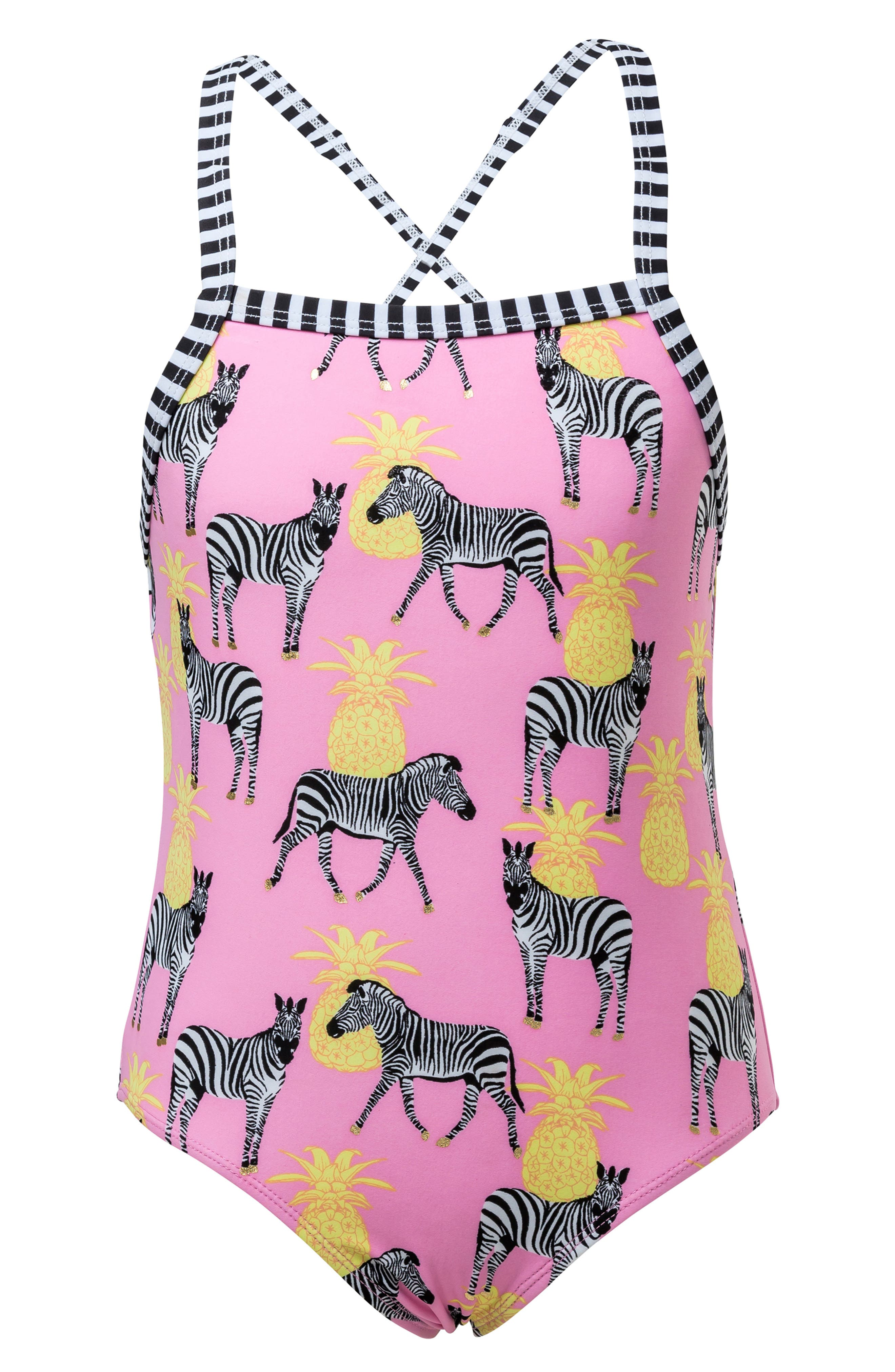 Zebra Pineapple One-Piece Swimsuit,                             Main thumbnail 1, color,                             PINK/ YELLOW/ BLACK