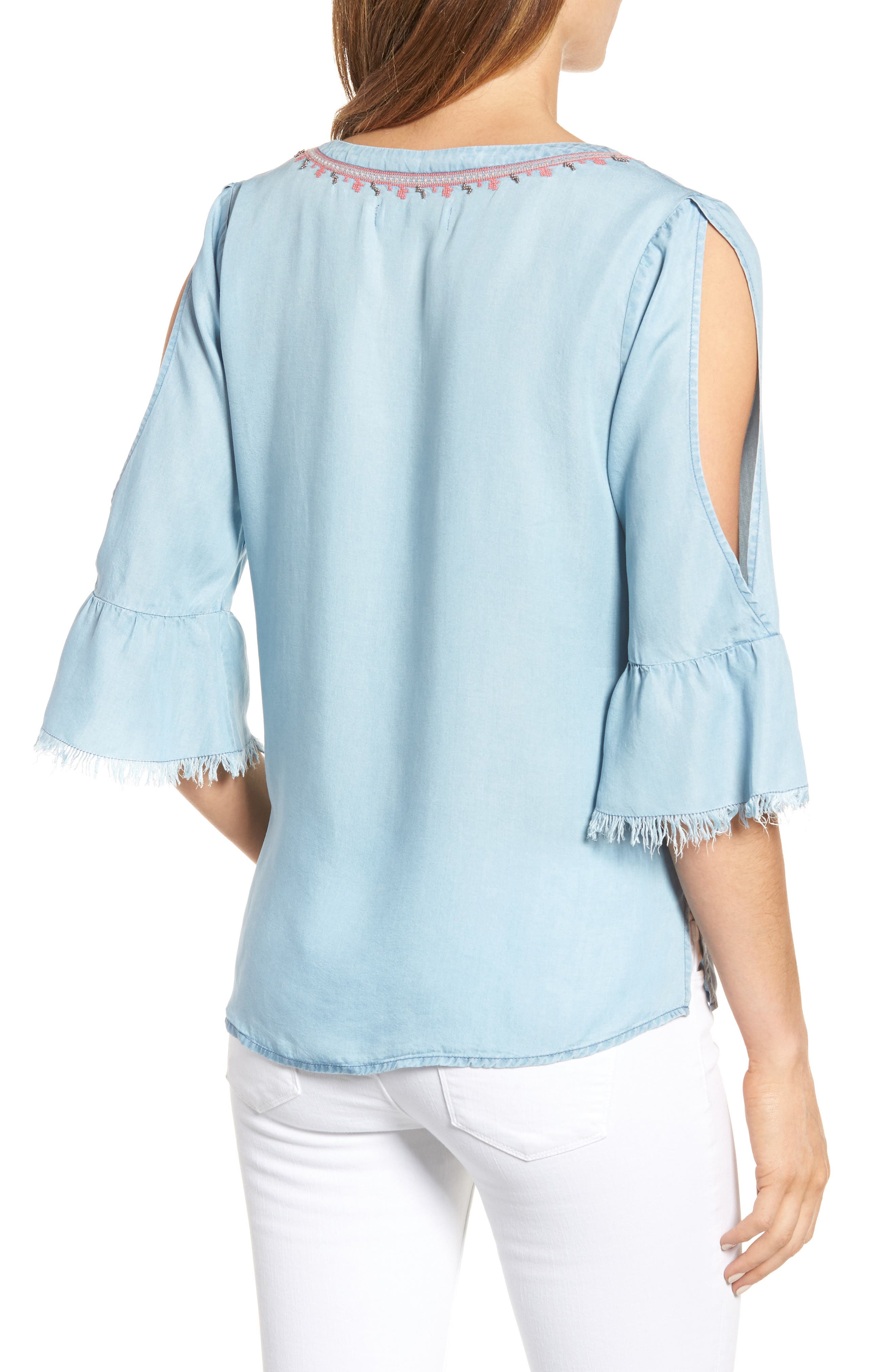 Embellished Bell Sleeve Chambray Top,                             Alternate thumbnail 2, color,                             400