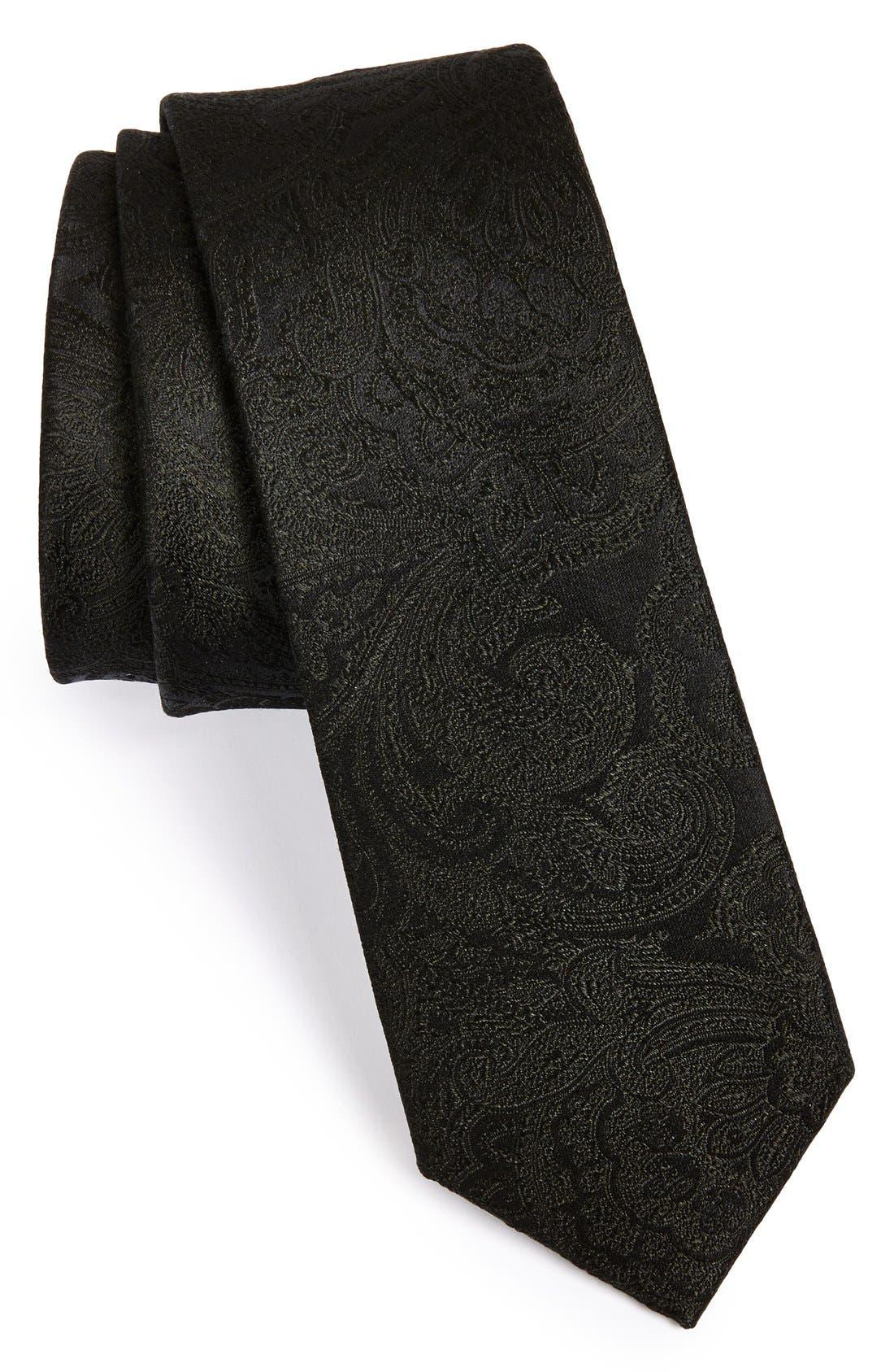 THE TIE BAR Silk Paisley Tie, Main, color, BLACK