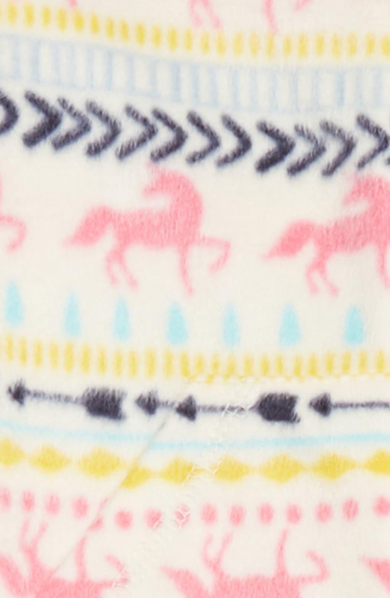 Cozy Print Fitted One-Piece Pajamas,                             Alternate thumbnail 2, color,                             IVORY EGRET UNICORN FAIRISLE