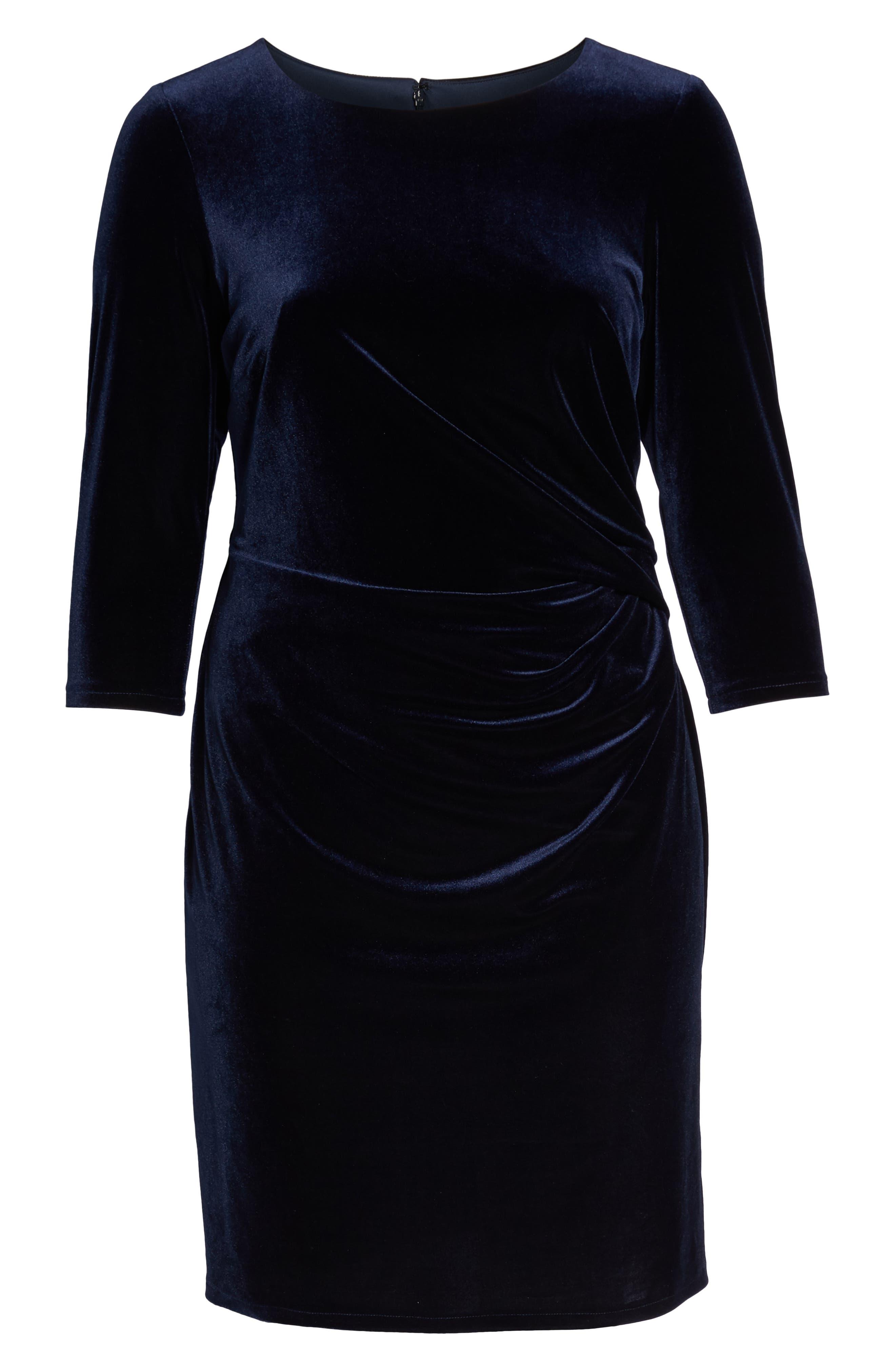 Stretch Velvet Sheath Dress,                             Alternate thumbnail 7, color,                             NAVY