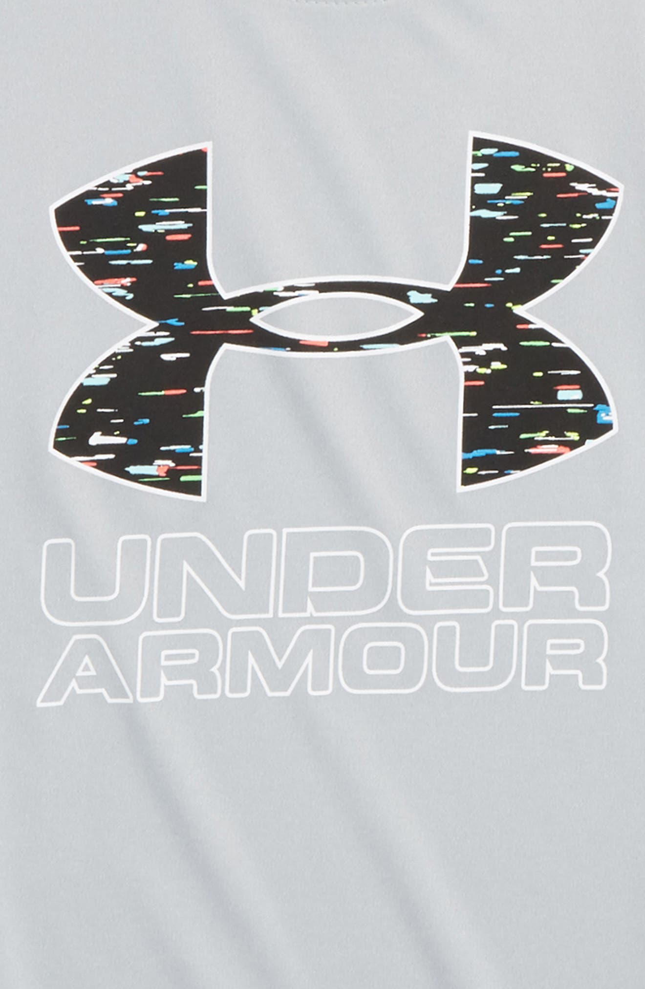 Logo HeatGear<sup>®</sup> T-Shirt,                             Alternate thumbnail 2, color,                             MOD GRAY LIGHT HEATHER/ WHITE