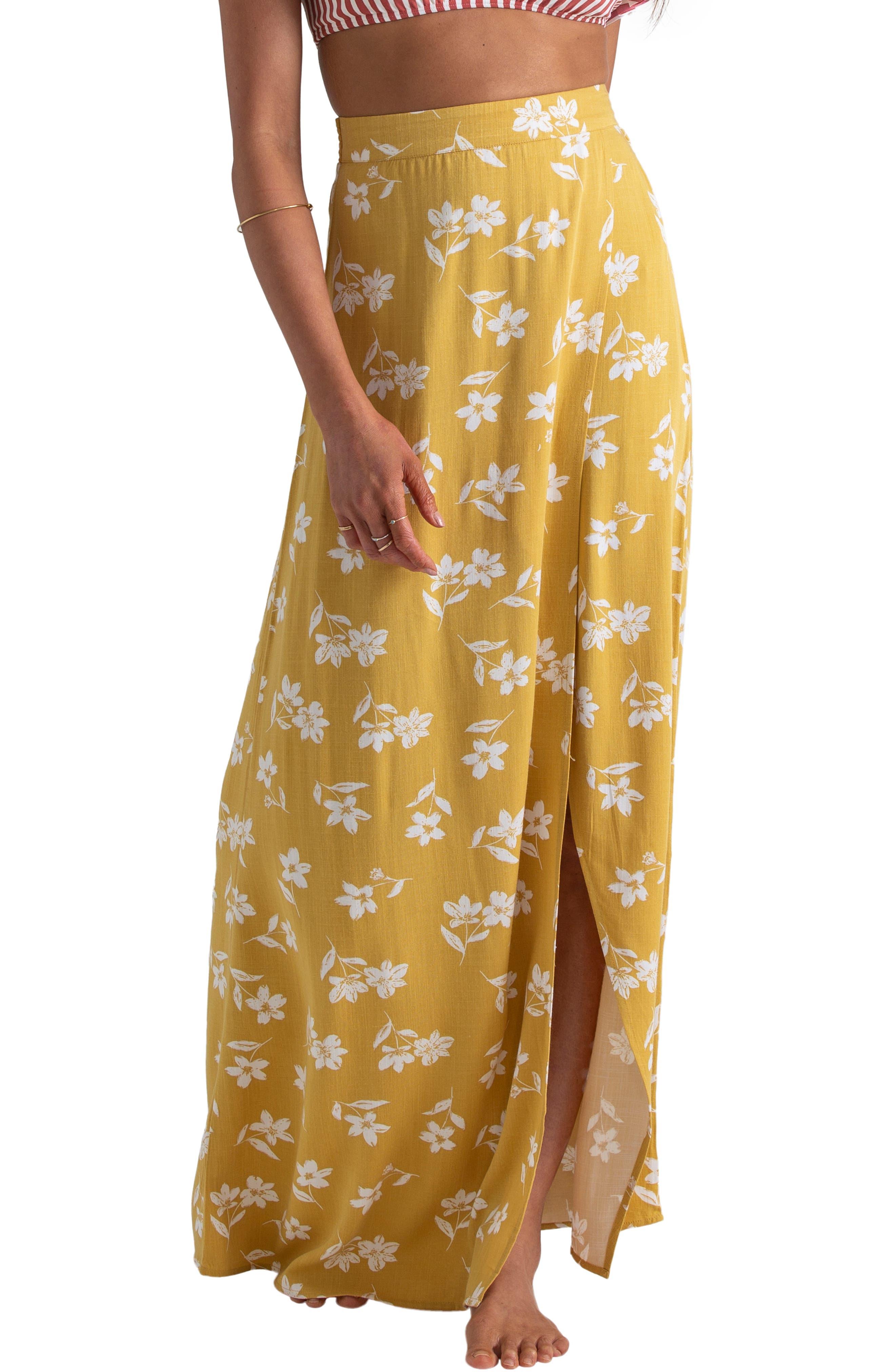 Billabong X Sincerely Jules High Heights Maxi Skirt, Yellow